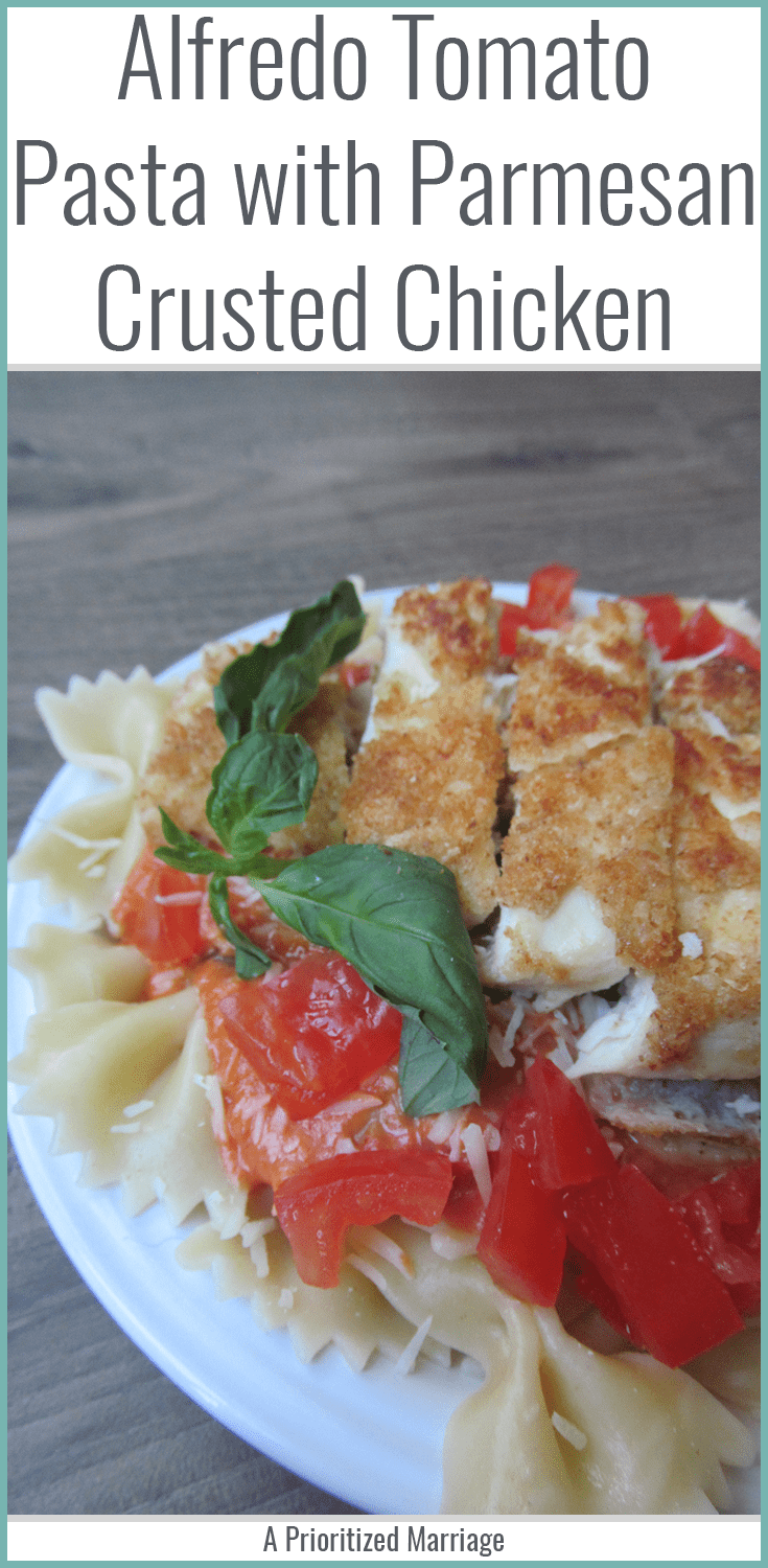 Paremsan Crusted Chicken and Pasta