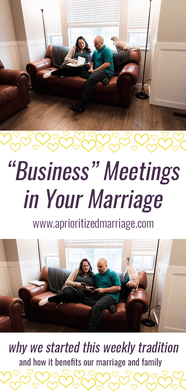 """If you don't have weekly """"business meetings"""" as a couple, here's why and how to start them today."""