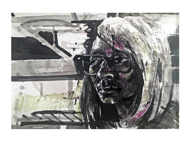 "SELF PORTRAIT  24""x18"" Ink, marker, whiteout pen and wine on paper  Using diluted ink and red wine as a wash, I was able to create a sense of atmospheric space around the head. Bold diagonals, hot highlights, and flashes of pink and green can be found throughout."