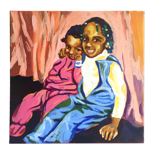 "BUDDIES  12""x12"" Acrylic on canvas  One thing I really love about sisterhood is that it comes with a built-in best friend. This painting is taken from a photograph of my sister, Danielle and me during the late 1980s."