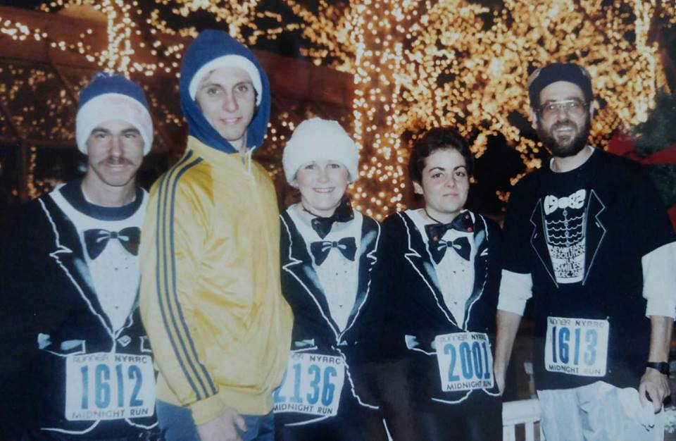 Mike (R) and fellow GLIRC members at the 1983 New Year's Eve Midnight Run in Central Park.(L to R: Jimmy McDougall, Bob Sanelli, Nancy Ackley, Mike Polansky)