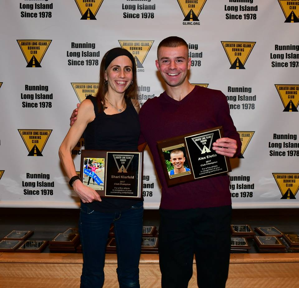 Shari Klarfeld (L) and Alex Eletto (R) receive their 2017 Overall Female and Male GLIRC Champion awards.