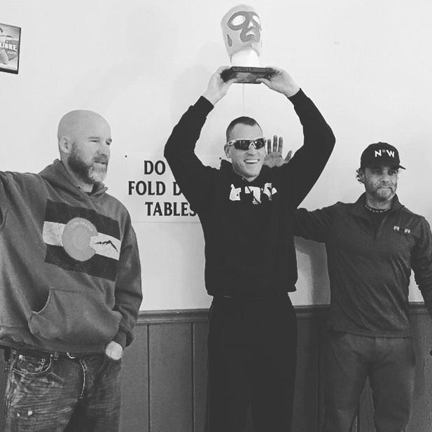 Freddie Nalos doing his thang in sub 30F weather! Podium party at the Natchez Libre Gravel Grinder. #ninetywestracing #gravelforthesoul #coldAF #gotacogo #keeppunching