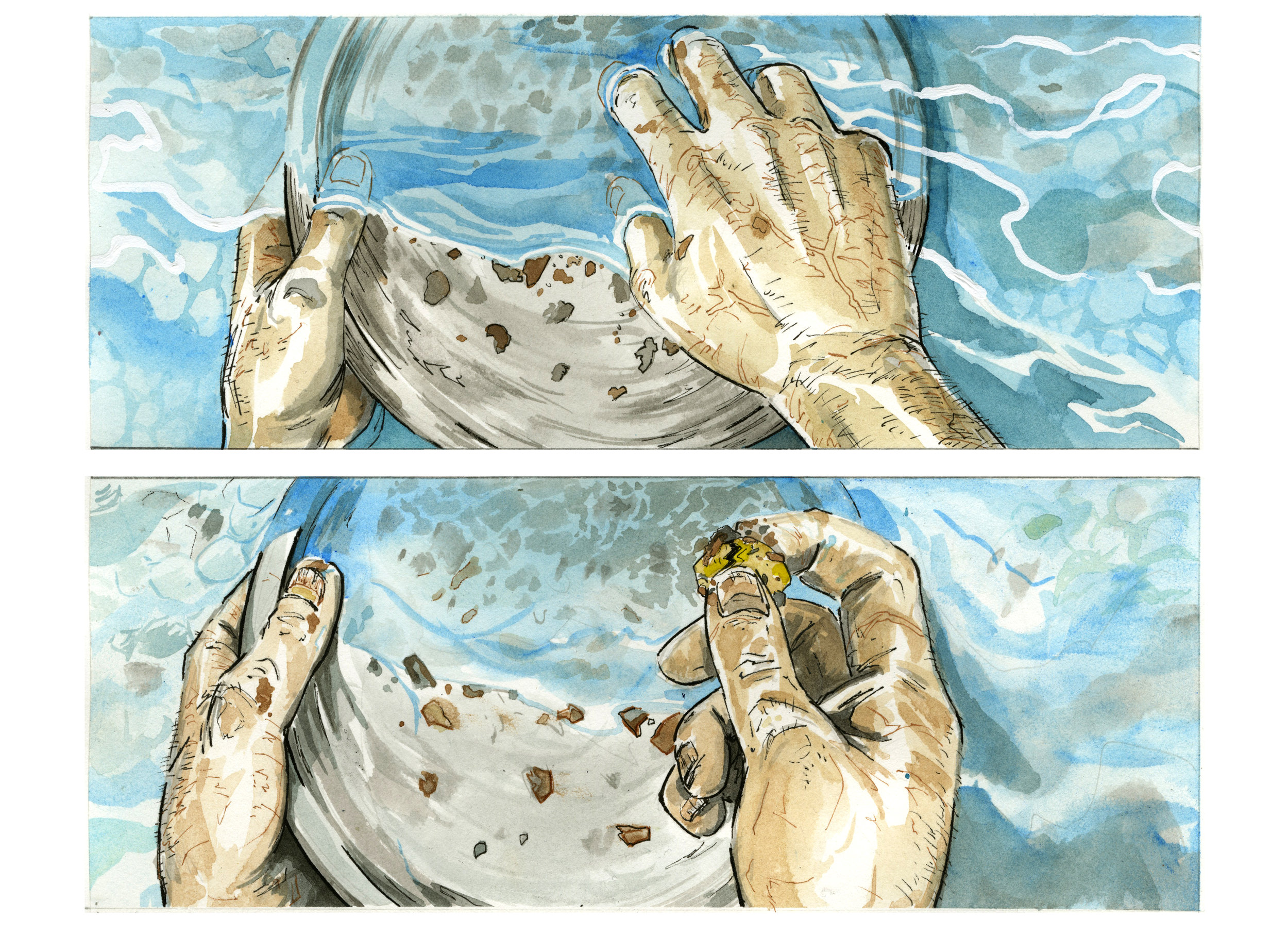 Watercolour comic panels