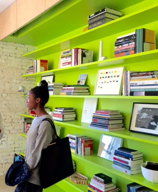 Lime green walls, they work in an apartment renovation. Photo by  Ritu Saheb, Architect, AIA
