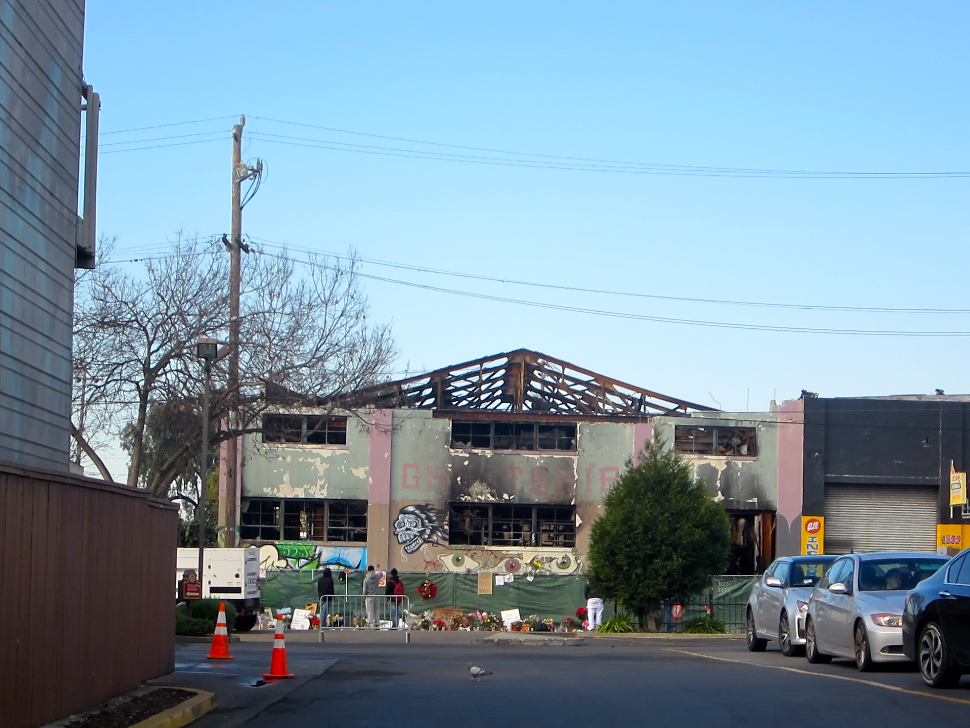 Ghost Ship, the burned out shell of underground Oakland warehouse. Photo by Ritu Saheb, Architect, AIA