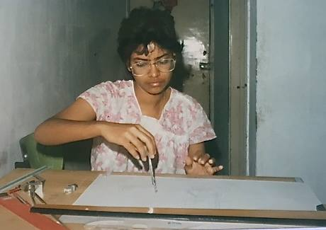 An architectural student in Mumbai, India. Photo by  Ritu Saheb, Architect, AIA