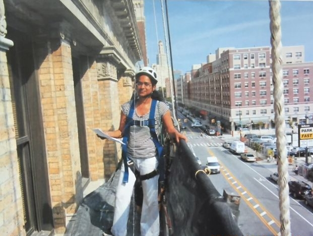 Hanging out on a  suspended scaffold  in downtown Brooklyn. Photo courtesy of  Ritu Saheb, Architect, AIA