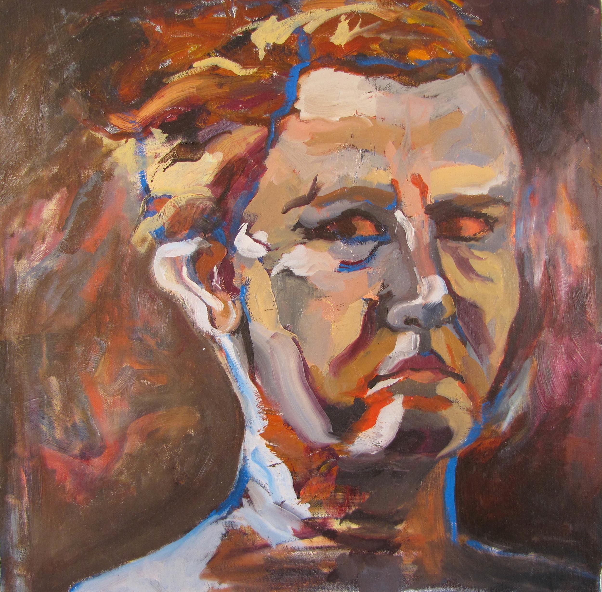"one/zero, oil on canvas, 18x18"" 2012"