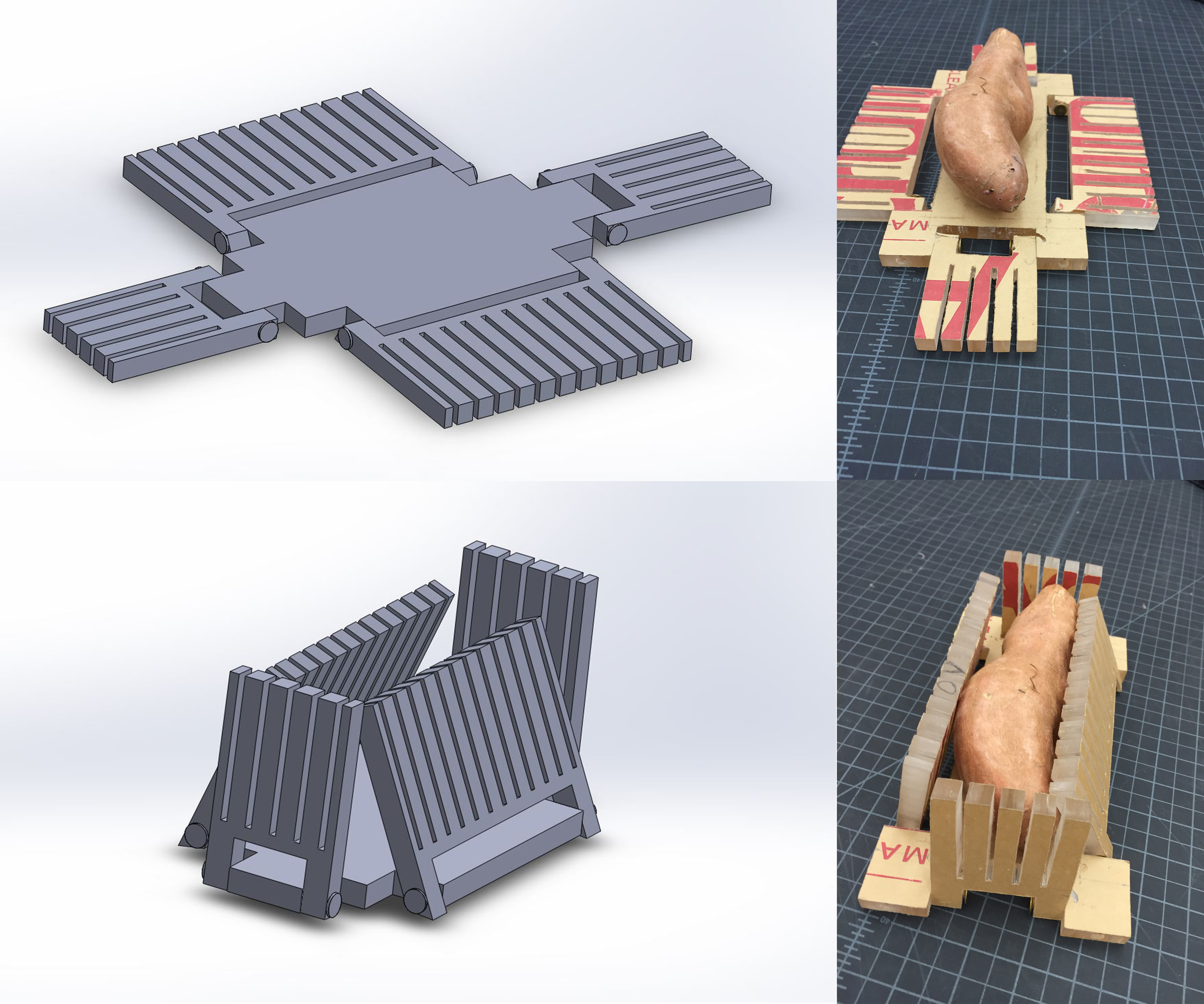 Next I created my own designs. The size of my designs was determined by the FDA specs for sweet potatoes. A major concern was ease of storage. I designed this model to fold flat so it could be stored with cutting boards. This shows a SolidWorks model of the design and a slightly altered prototype.