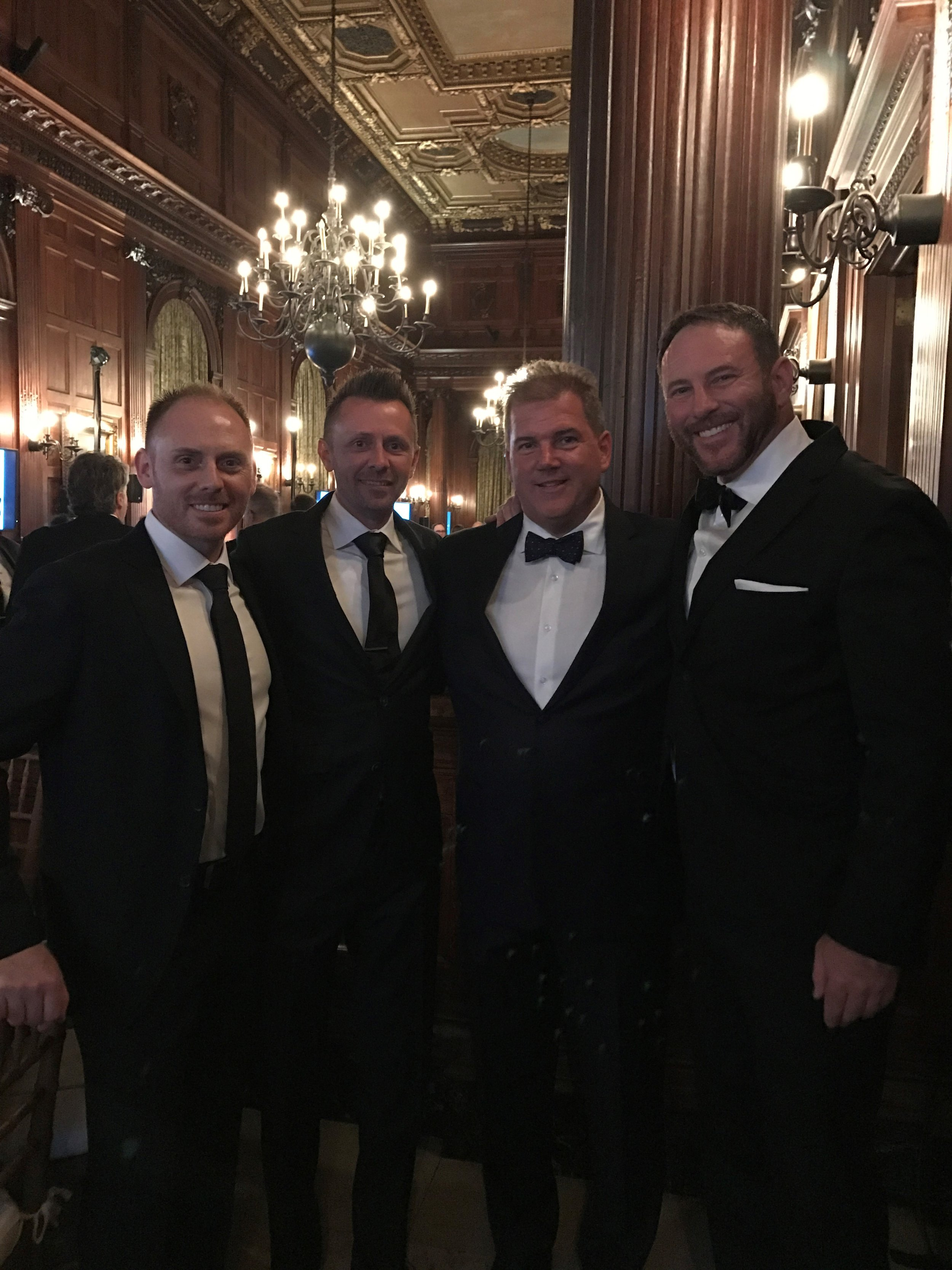 The Institute of Classical Architecture & Art held their 2017 Arthur Ross Awards at the University Club of New York on May 1st. The Awards were established in 1982 to recognize and celebrate excellence in the classical architectural tradition.  Featured in this photo are Frank and Chris Kane of Kane Brothers, Inc.; Bill Drakeley of Drakeley Pool Company and Drakeley Industries; and Wade Weissman of Wade Weissman Architecture, Inc.