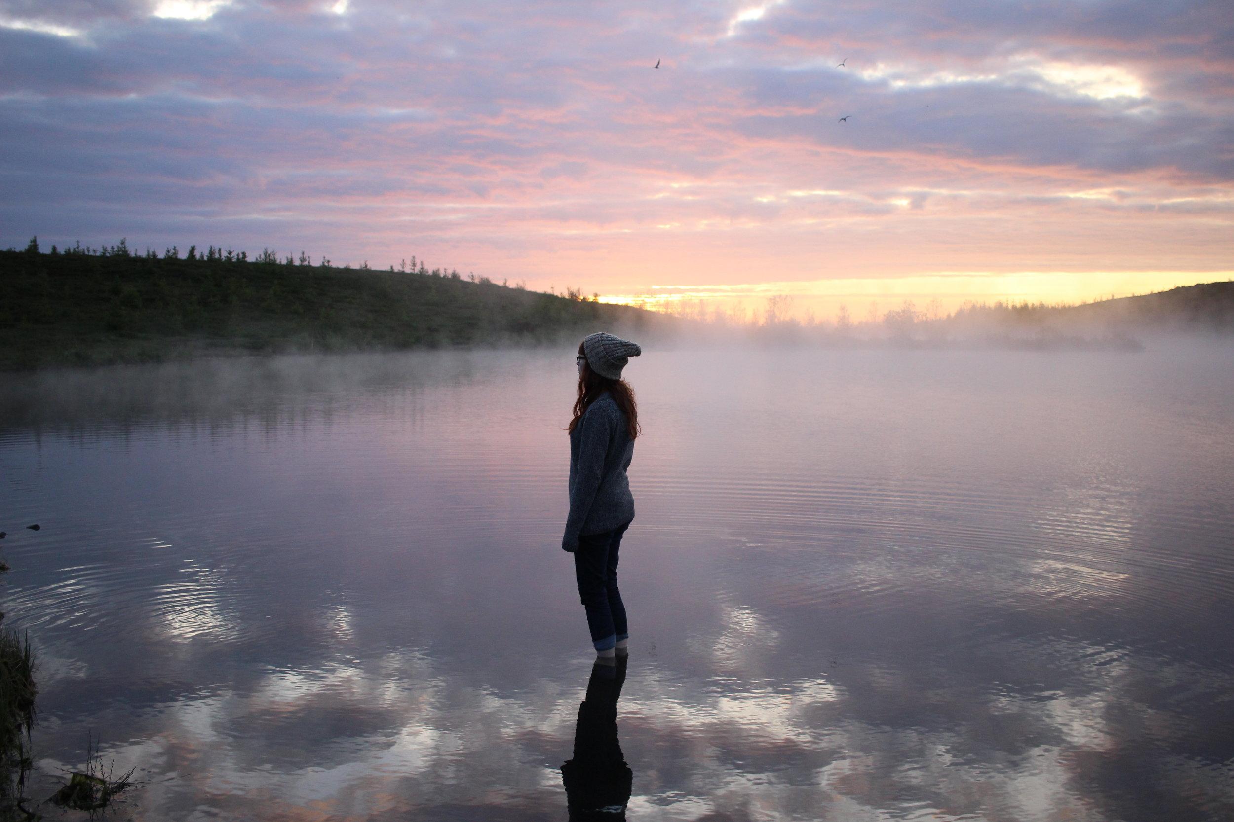 Iceland lake under sunset