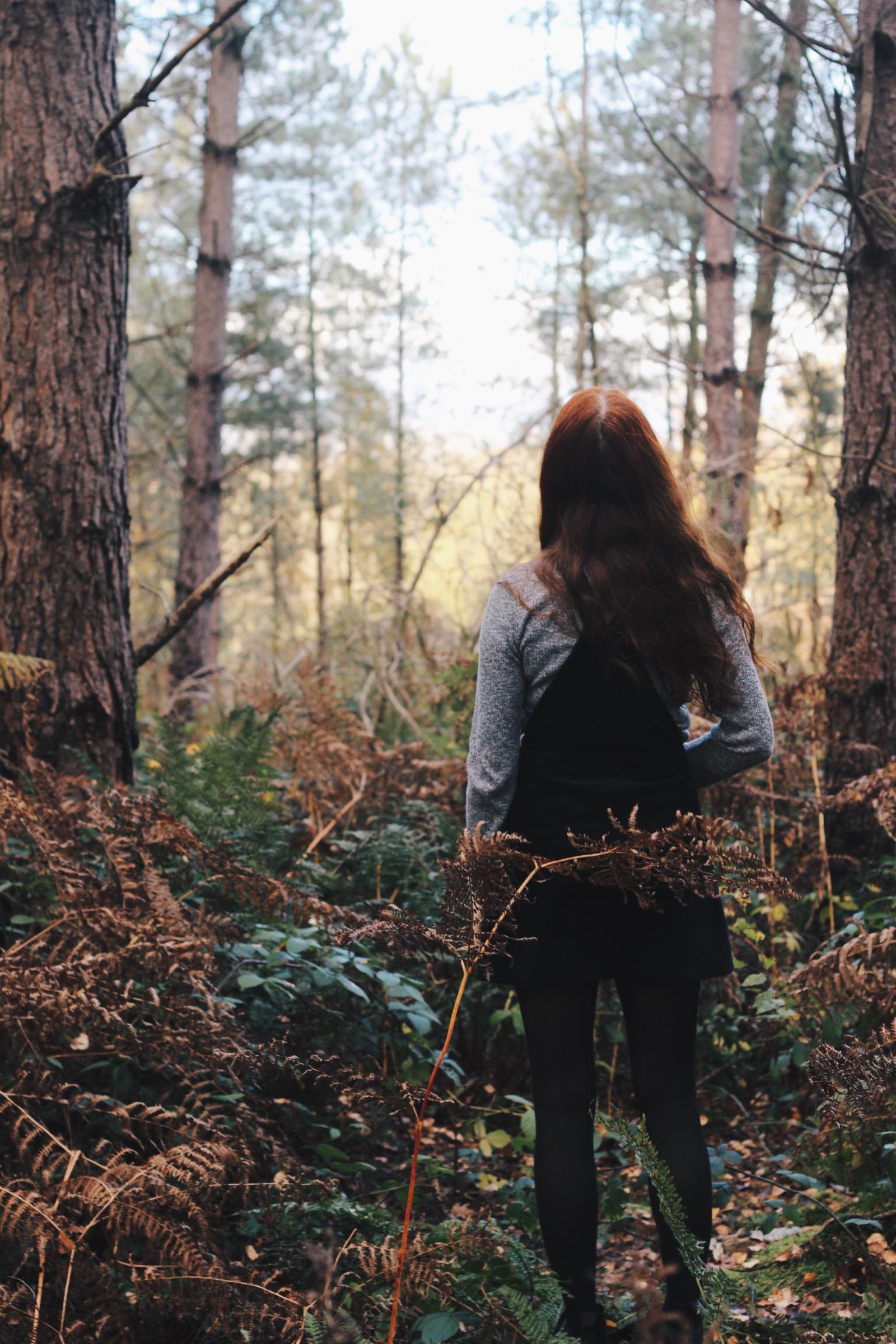 Girl red hair woods