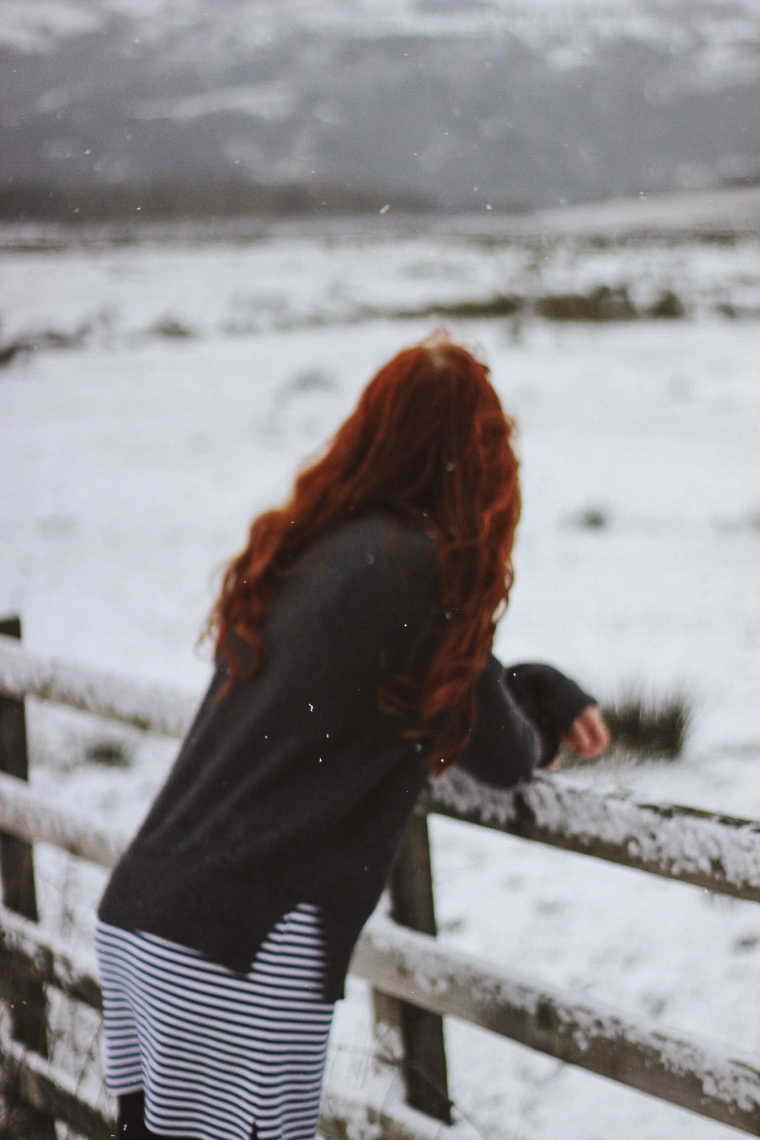 Girl, red hair, snow