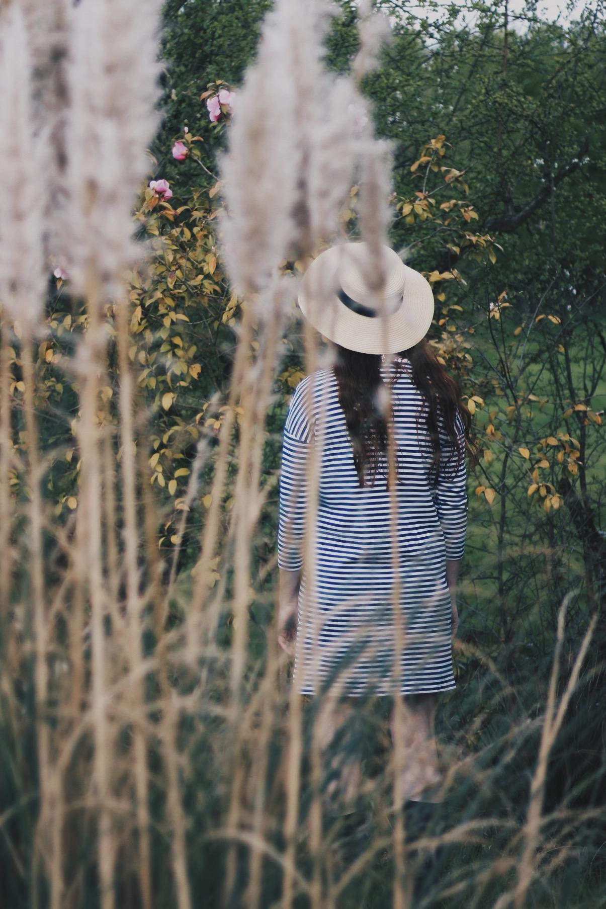 Girl, Pampas Grass, Garden