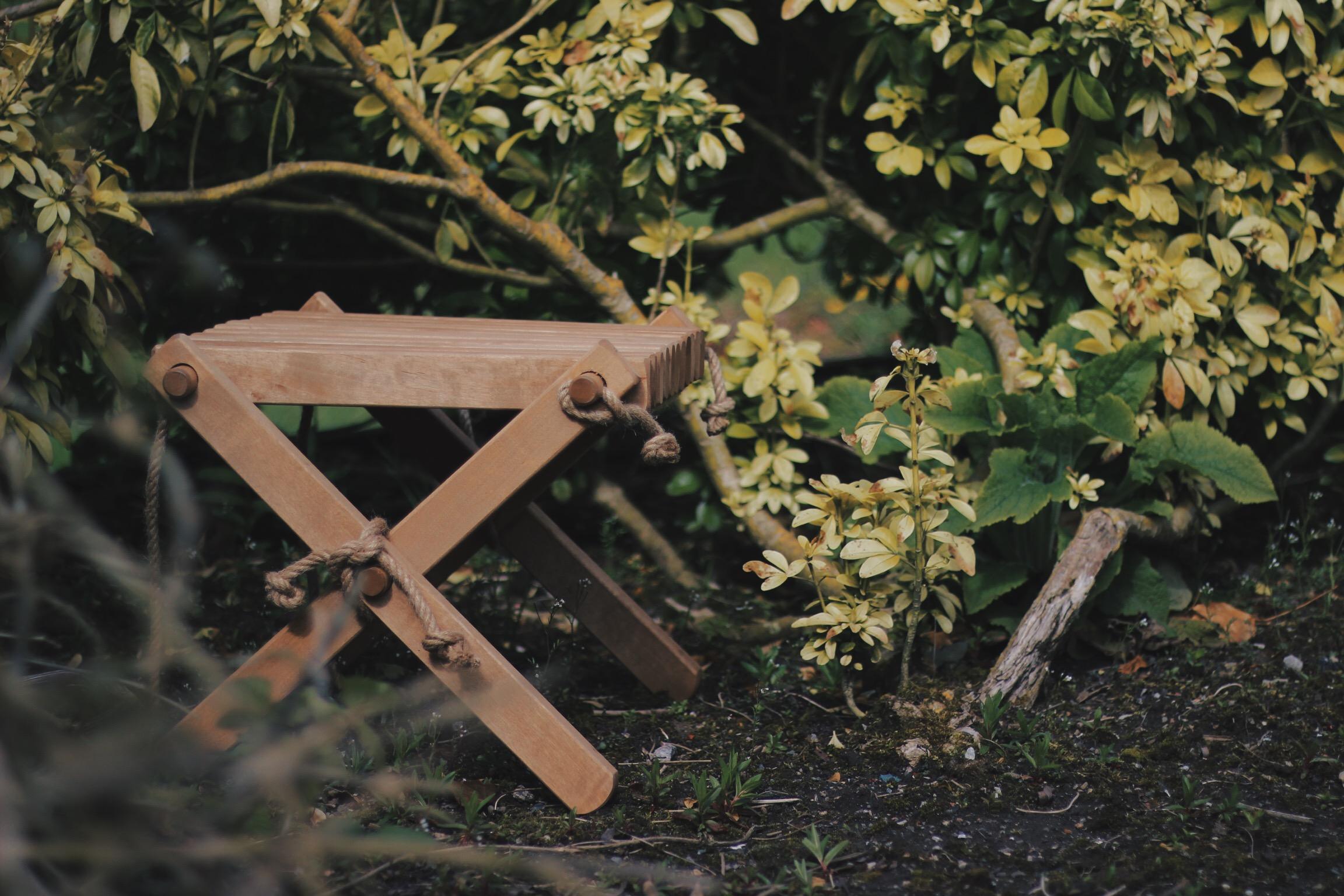 Wooden Stool in the Garden