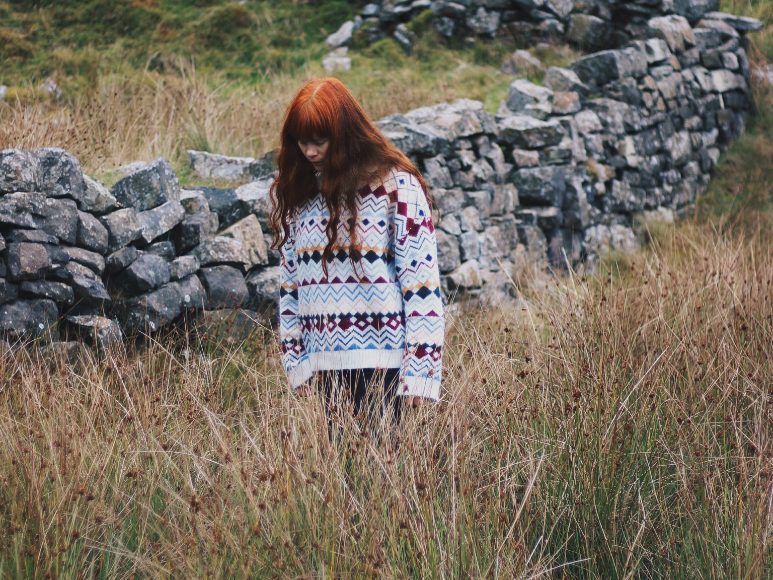 Girl with red hair, countryside