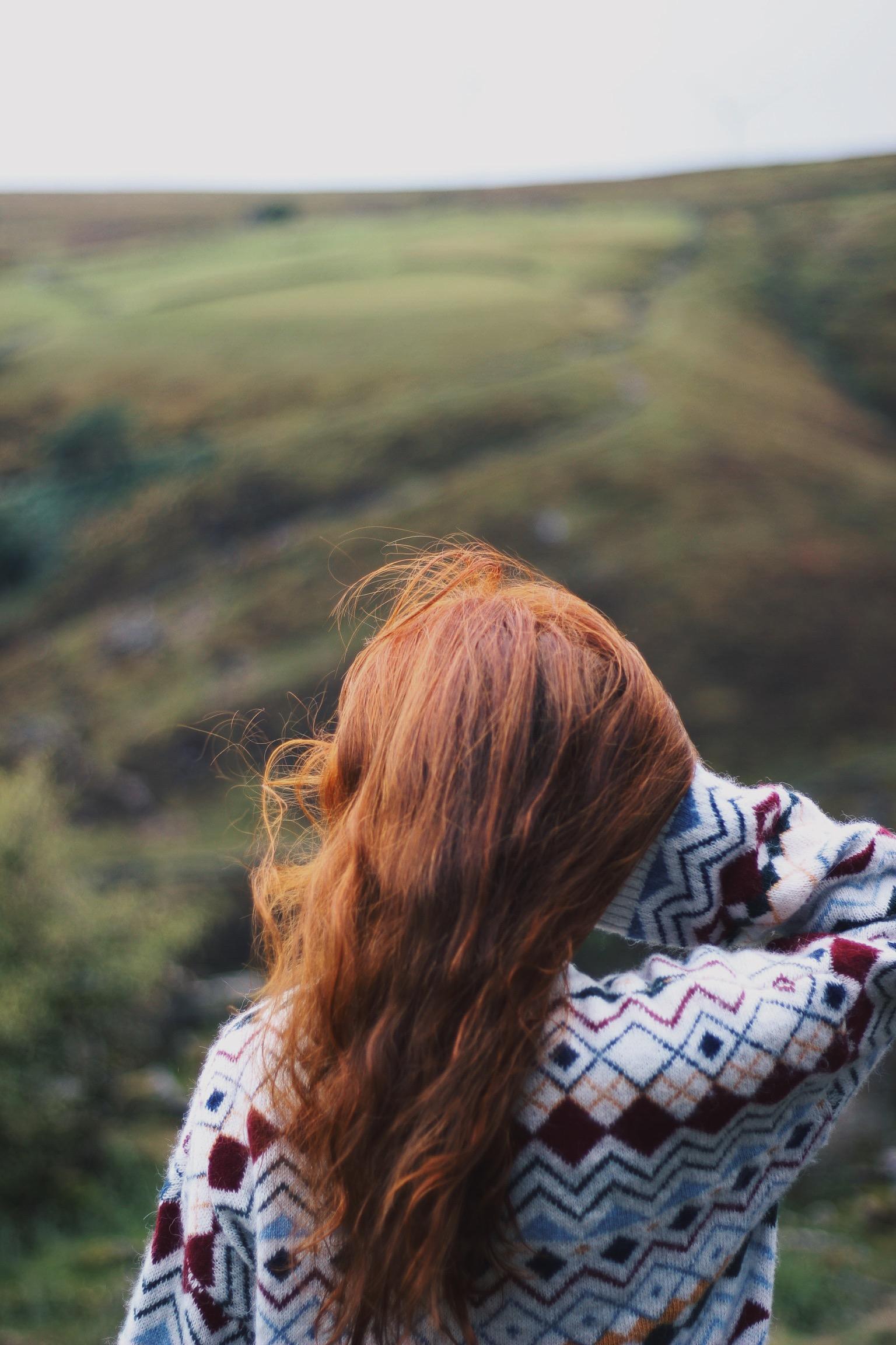Girl, red hair, countryside