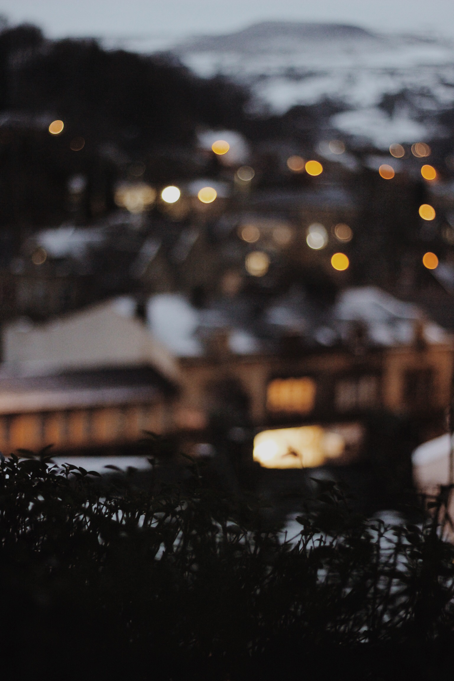 Todmorden in winter with bokeh