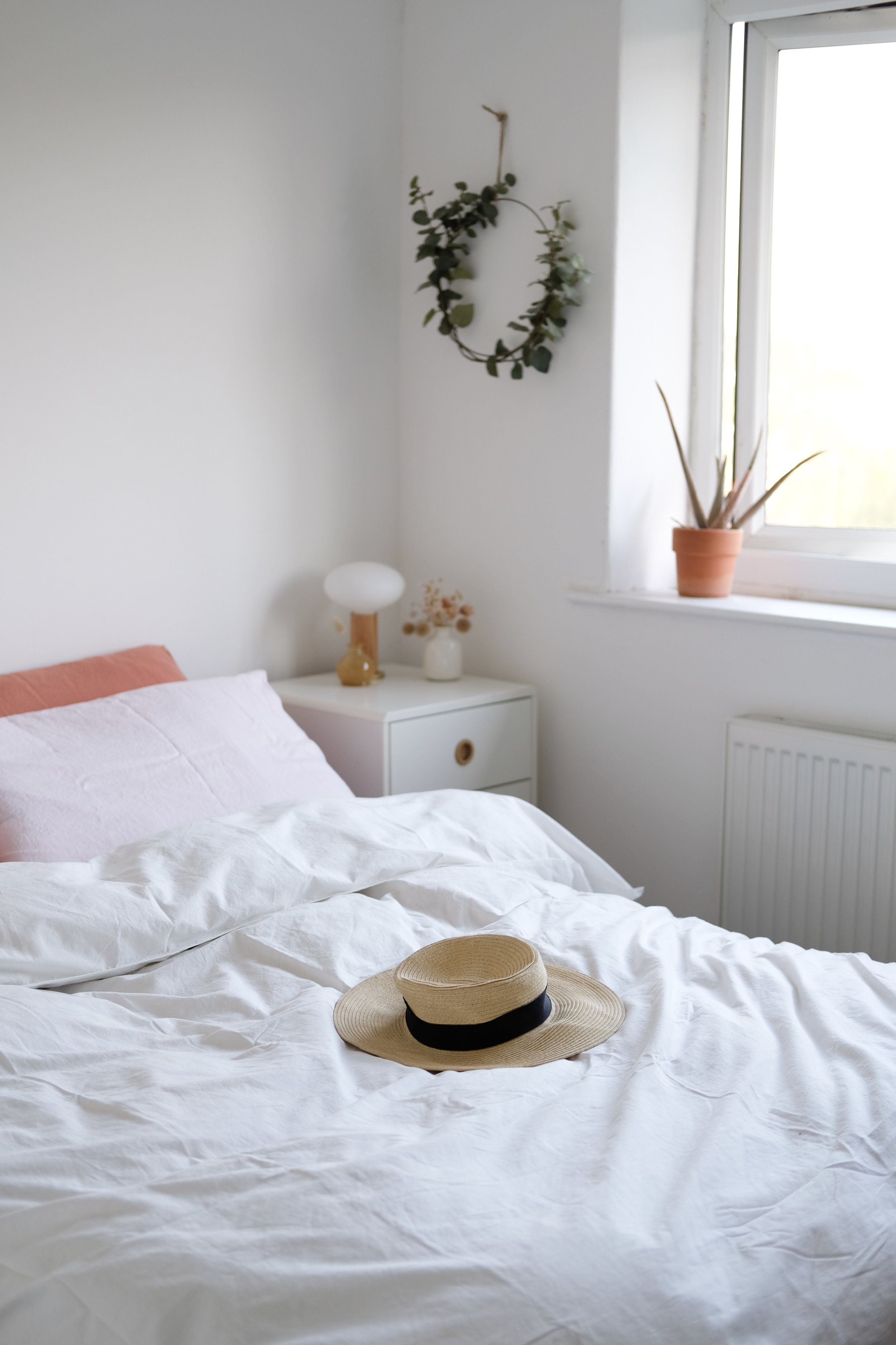 Slow + simple bedroom | blush, terracotta and white