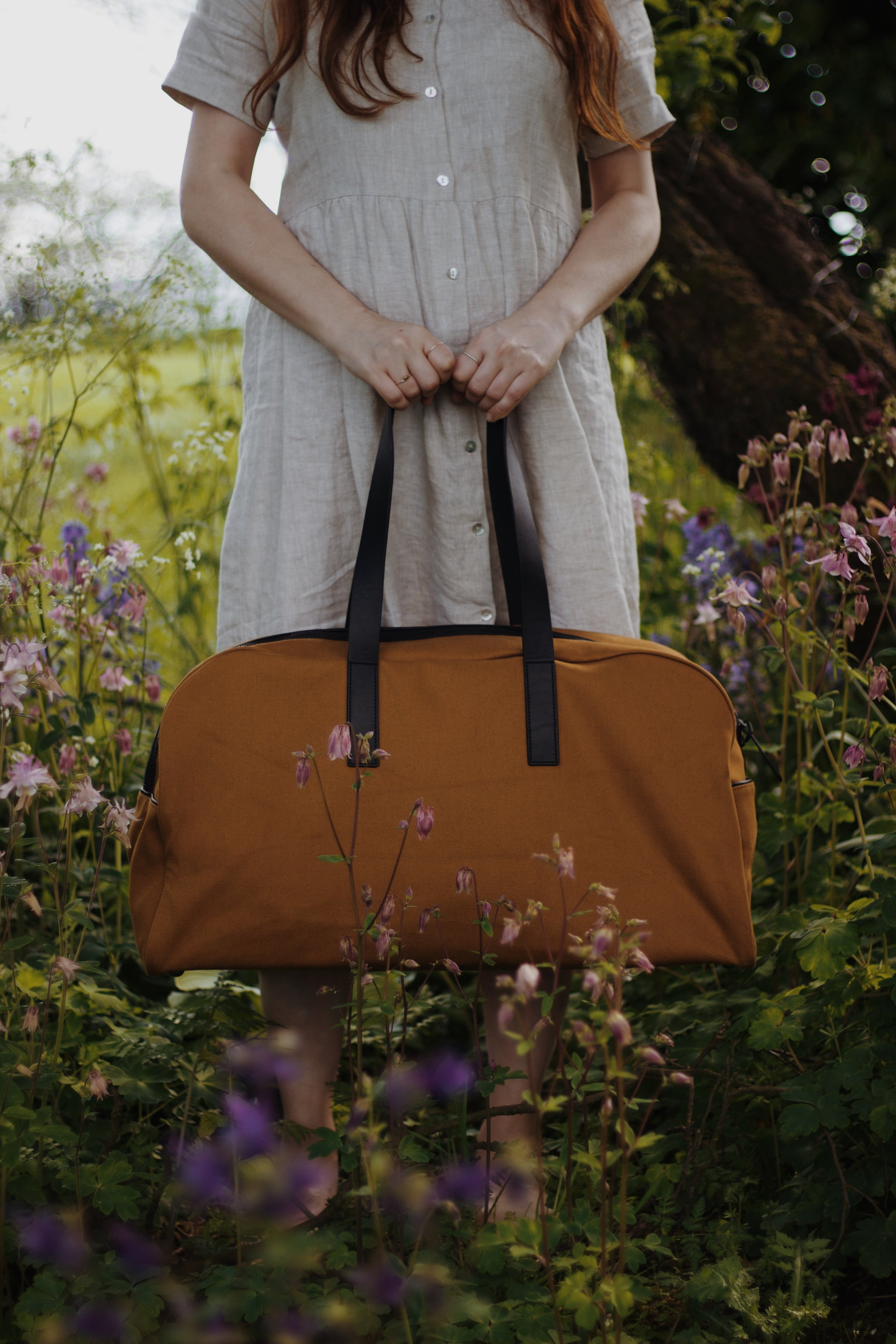 Everlane Twill Weekender Bag, photographed among Spring Wildflowers | Field + Nest