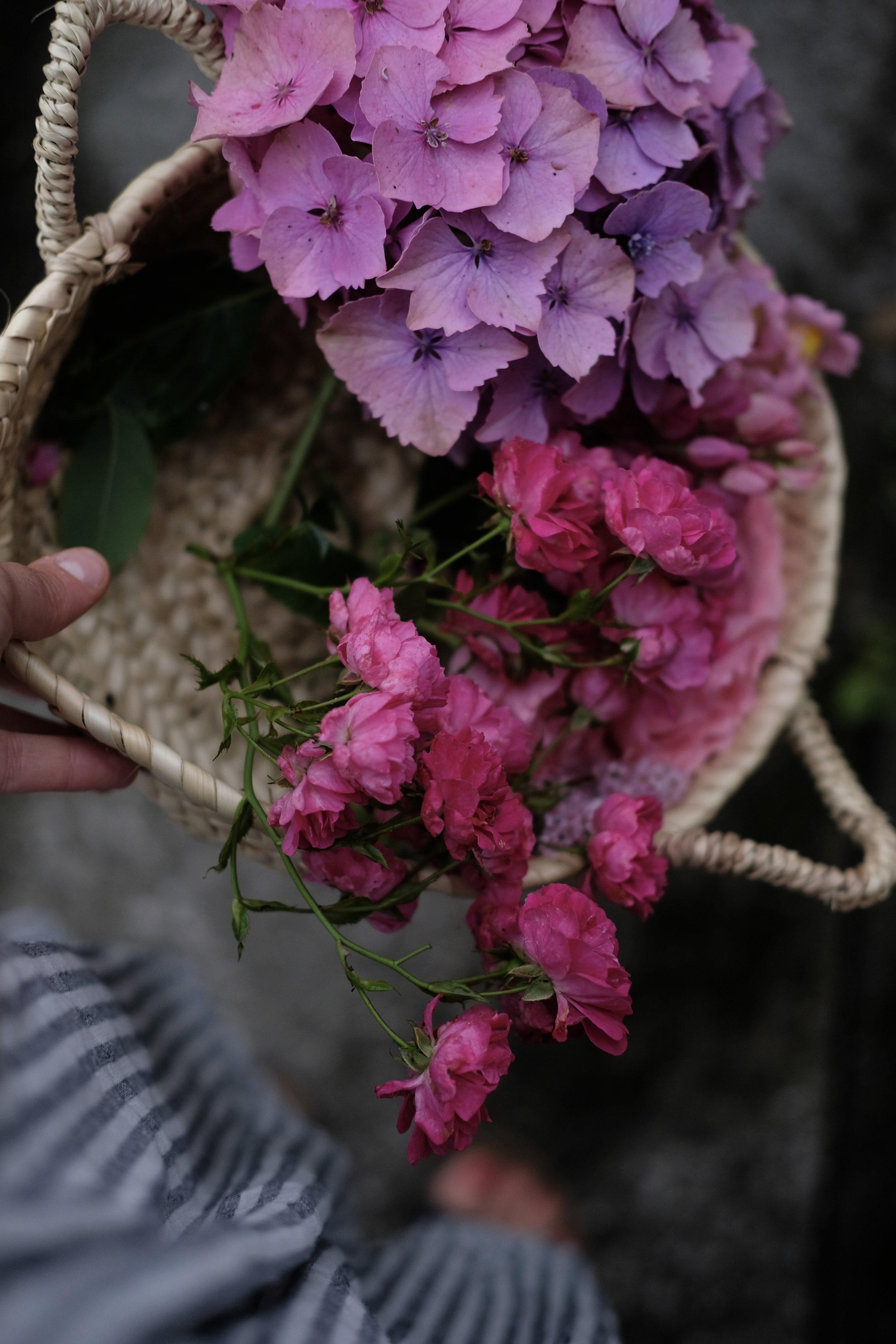 Basket of pink flowers | Field + Nest