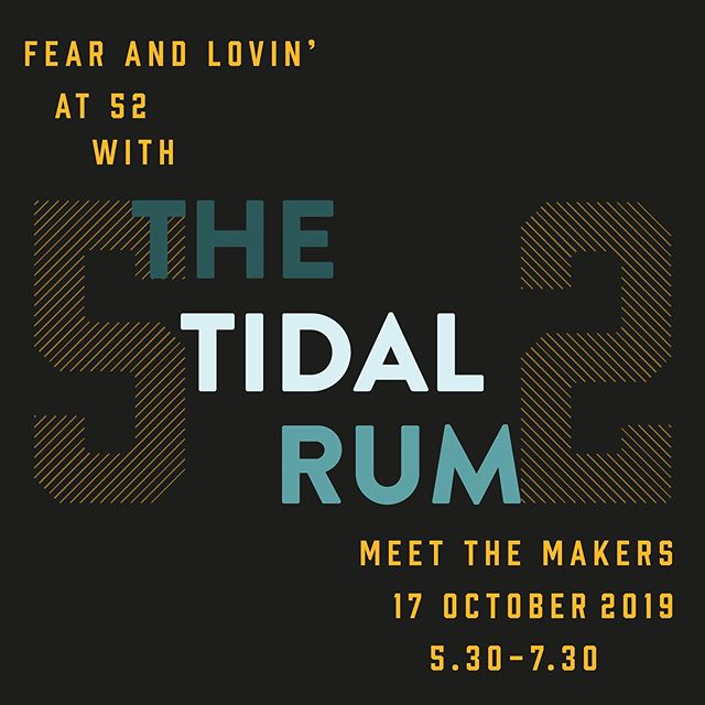 Help us stir up some Fear & Lovin' at 52 and meet the makers of @tidalrum, a golden aged rum infused with oak smoked Pepper Dulse foraged at low tide in Jersey. Tastings + Rum Chat from 5.30 - 7.30 pm and Tidal Rum Specials all night with our friends from @lovewineje. Event link in bio and hope to see you all on the 17th! X