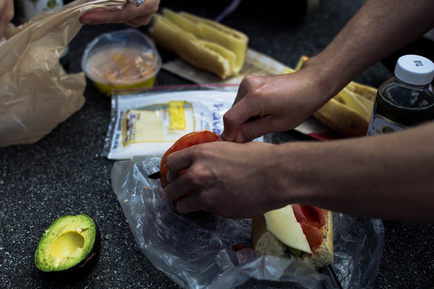 """The """"Asheville Sandwhich:"""" mango sriracha hummus, havarti cheese, tomatoes &avocados. Goes well with mountaintop views."""