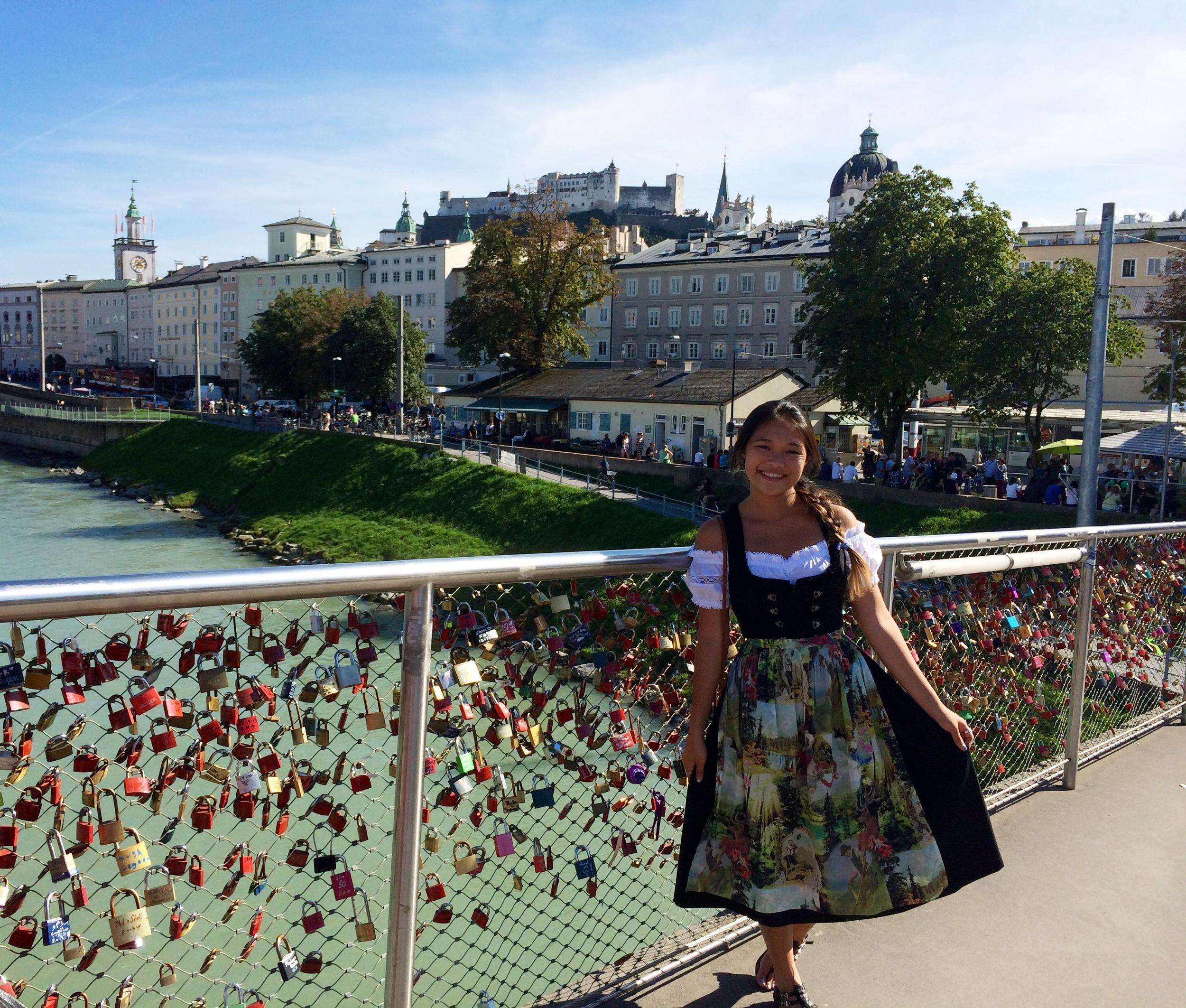"Marina in a dirndl on the ""love"" bridge"