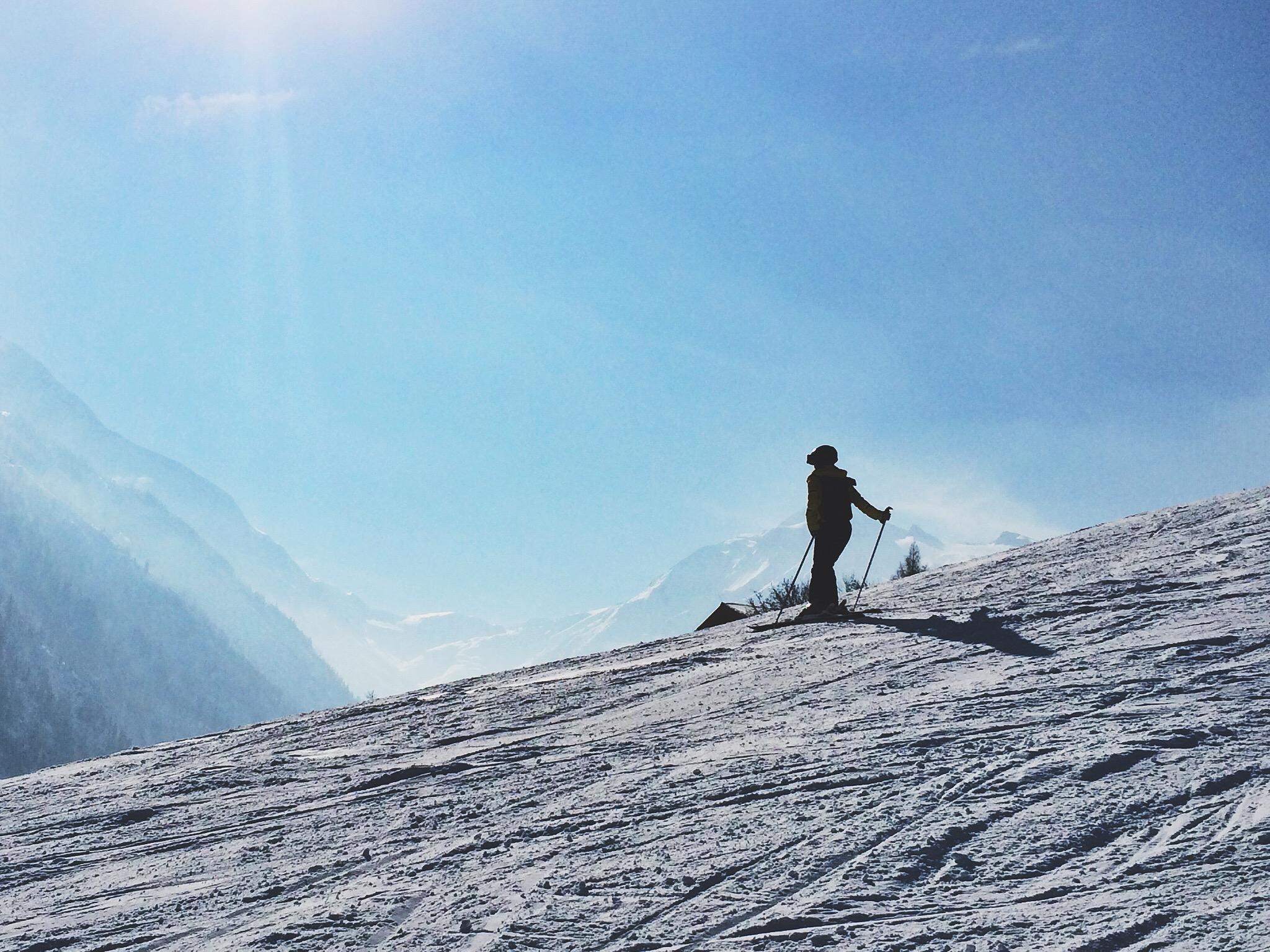 Austrian Alps in background, Marina skiing