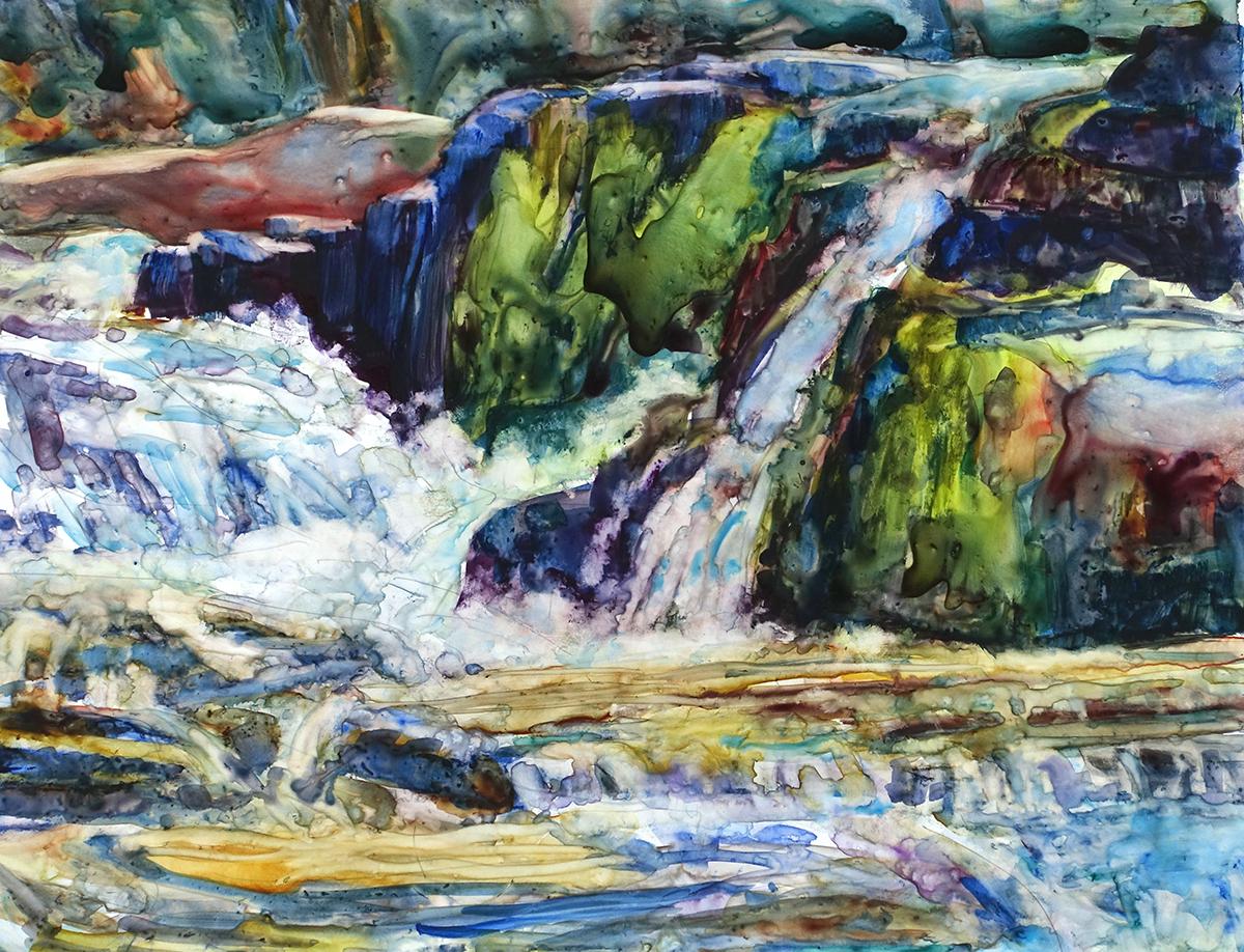 In the Falls—a closeup of water and rocks at Umpachene Falls in New Marlborough, Mass.