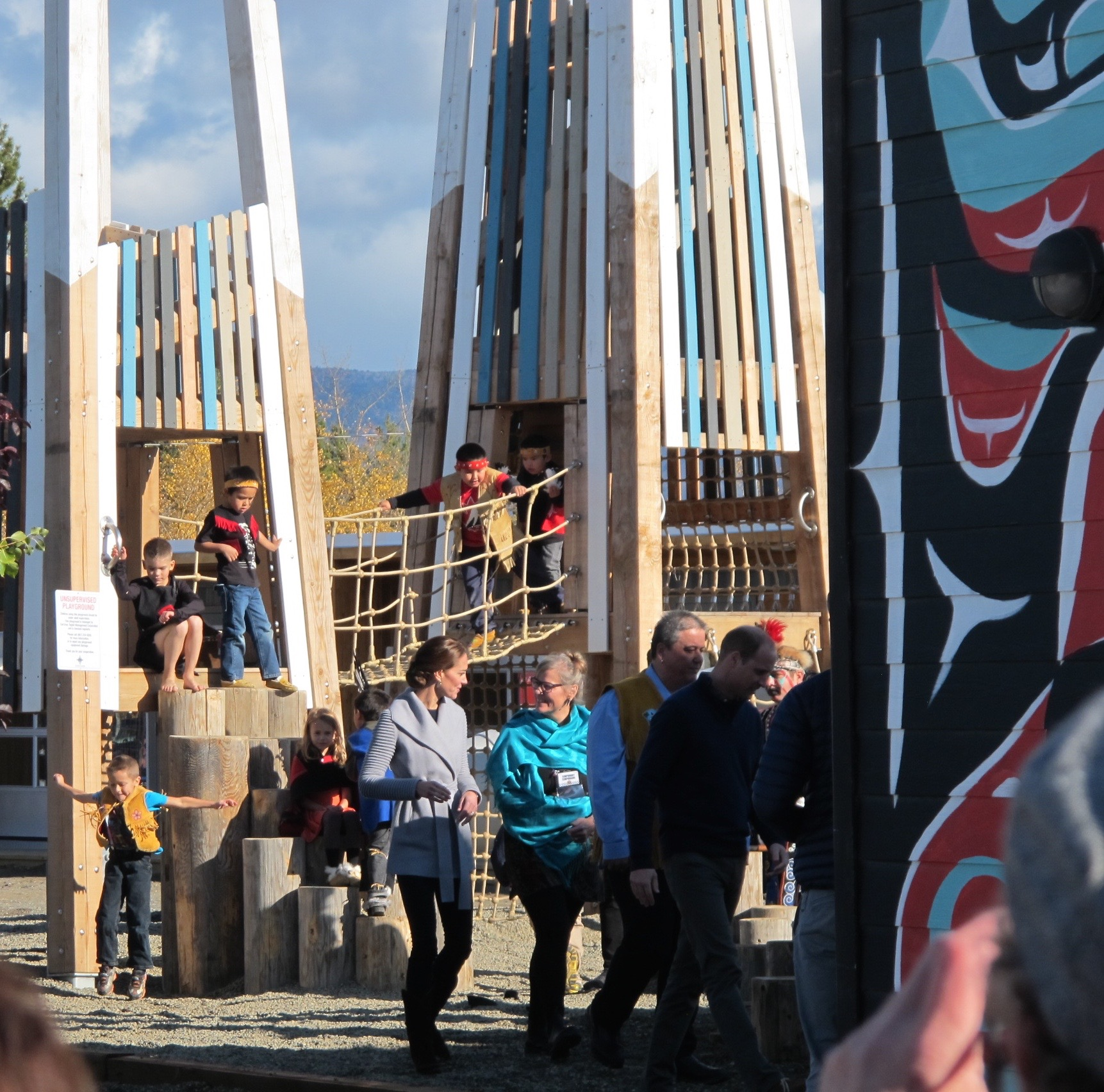 Prince William and Princess Kate open the Carcross Commons playground with Carcross traditional dancers
