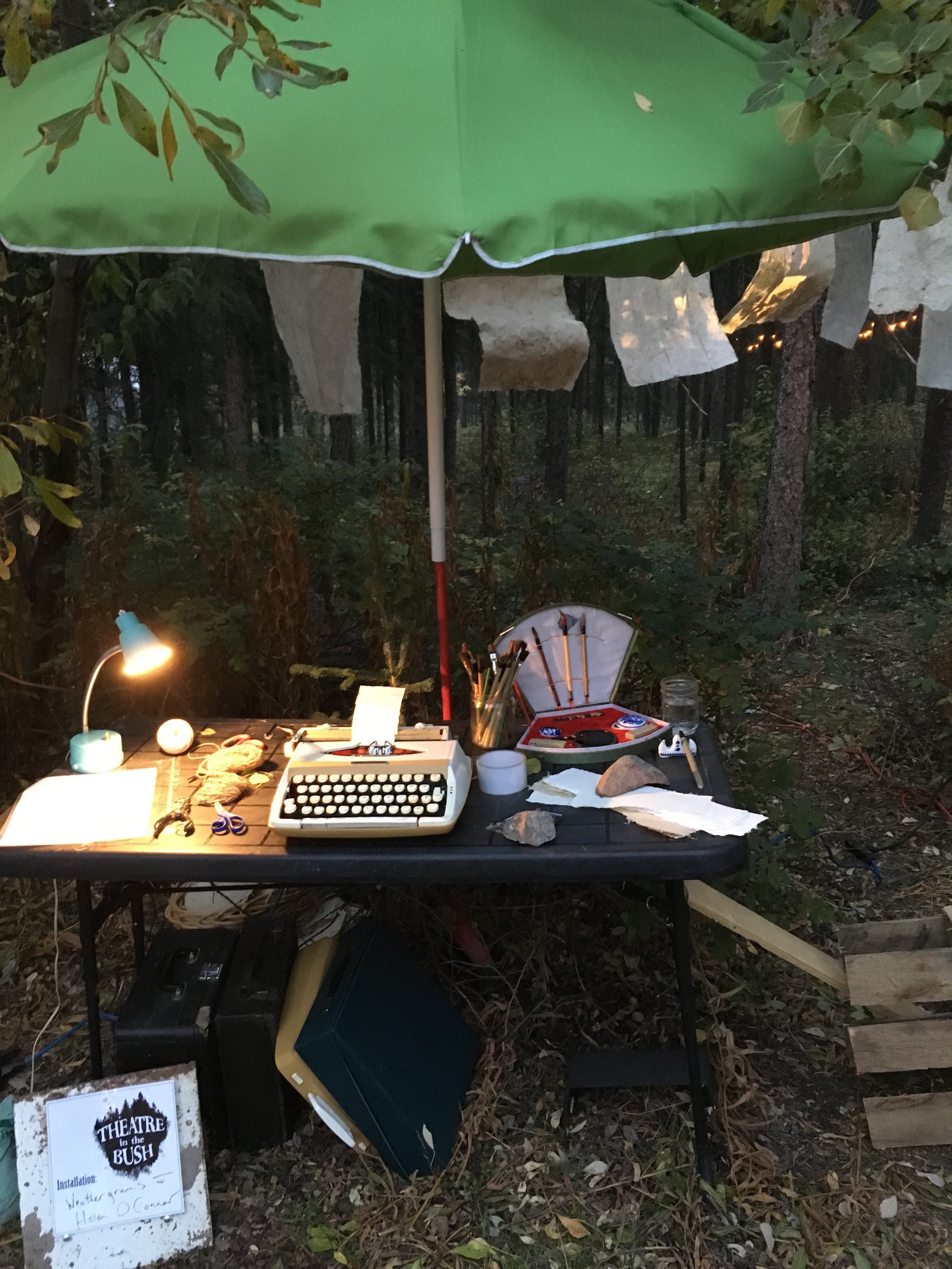 Typing station, Theatre in the Bush, Sept 2018