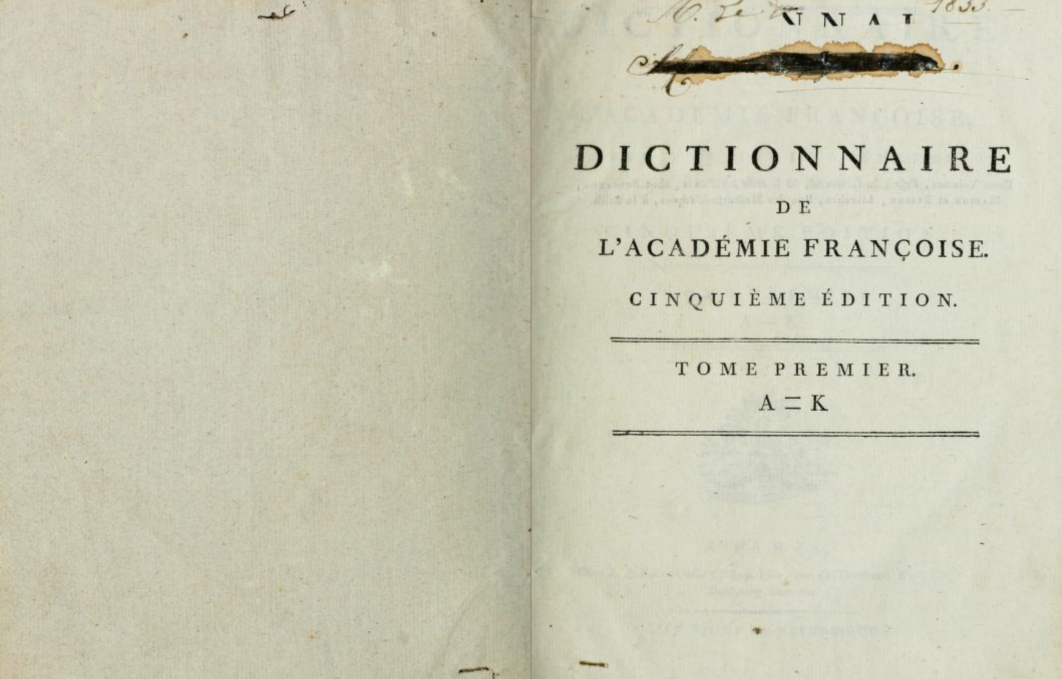 4TH PAGE VIEW OF THE DICTIONNAIRE DE L'ACADEMIE FRANCAISE (1799), DIGITIZED BY  THE INTERNET ARCHIVE
