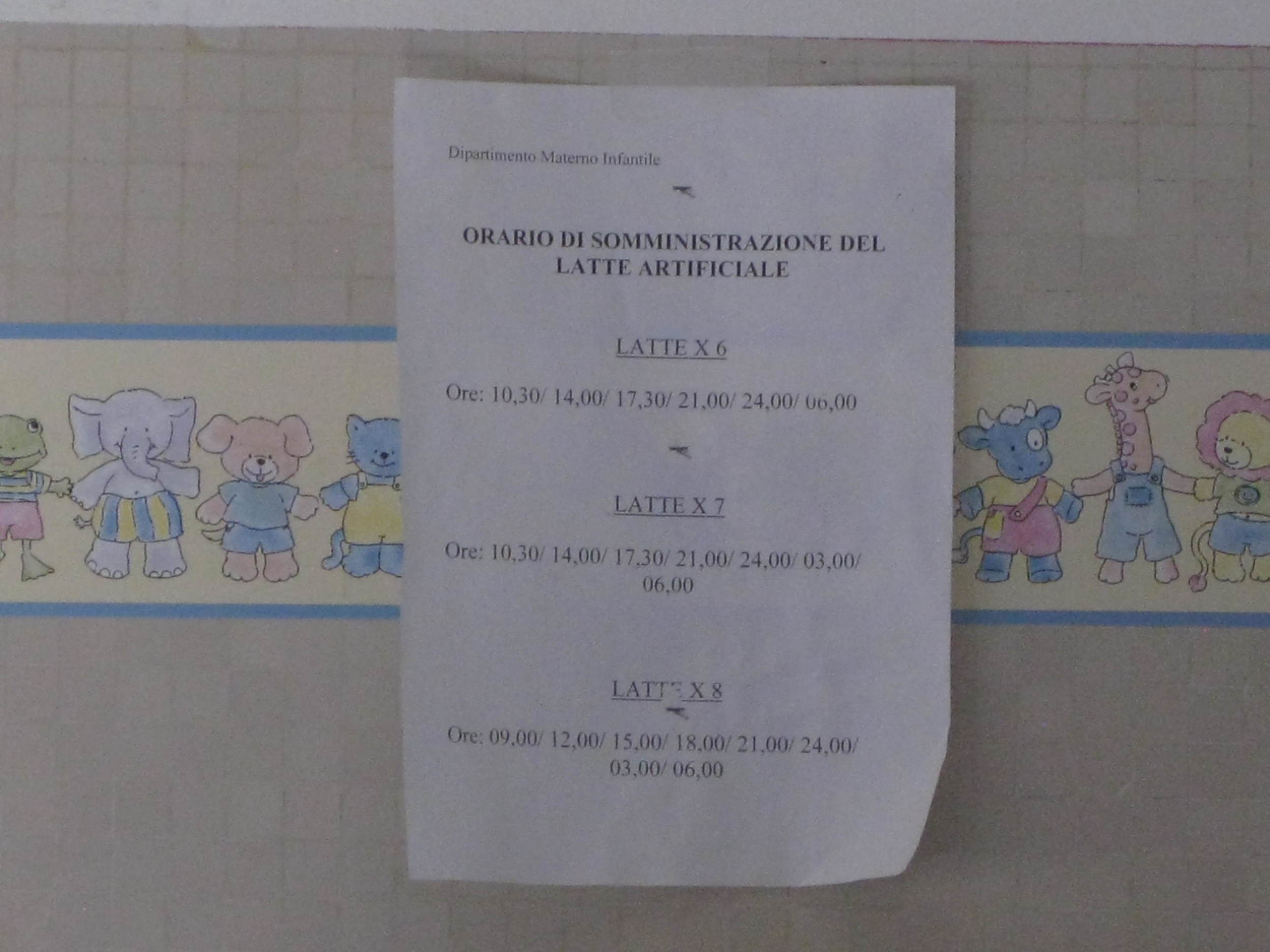 Formula feeding instructions, Careggi maternity ward