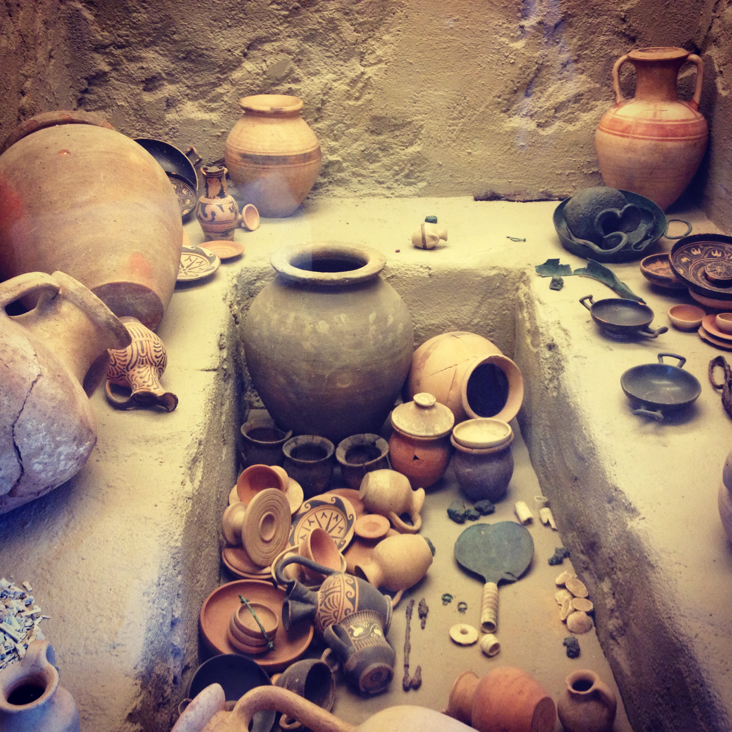 Tomb display at the Etruscan museum in Tarquinia.