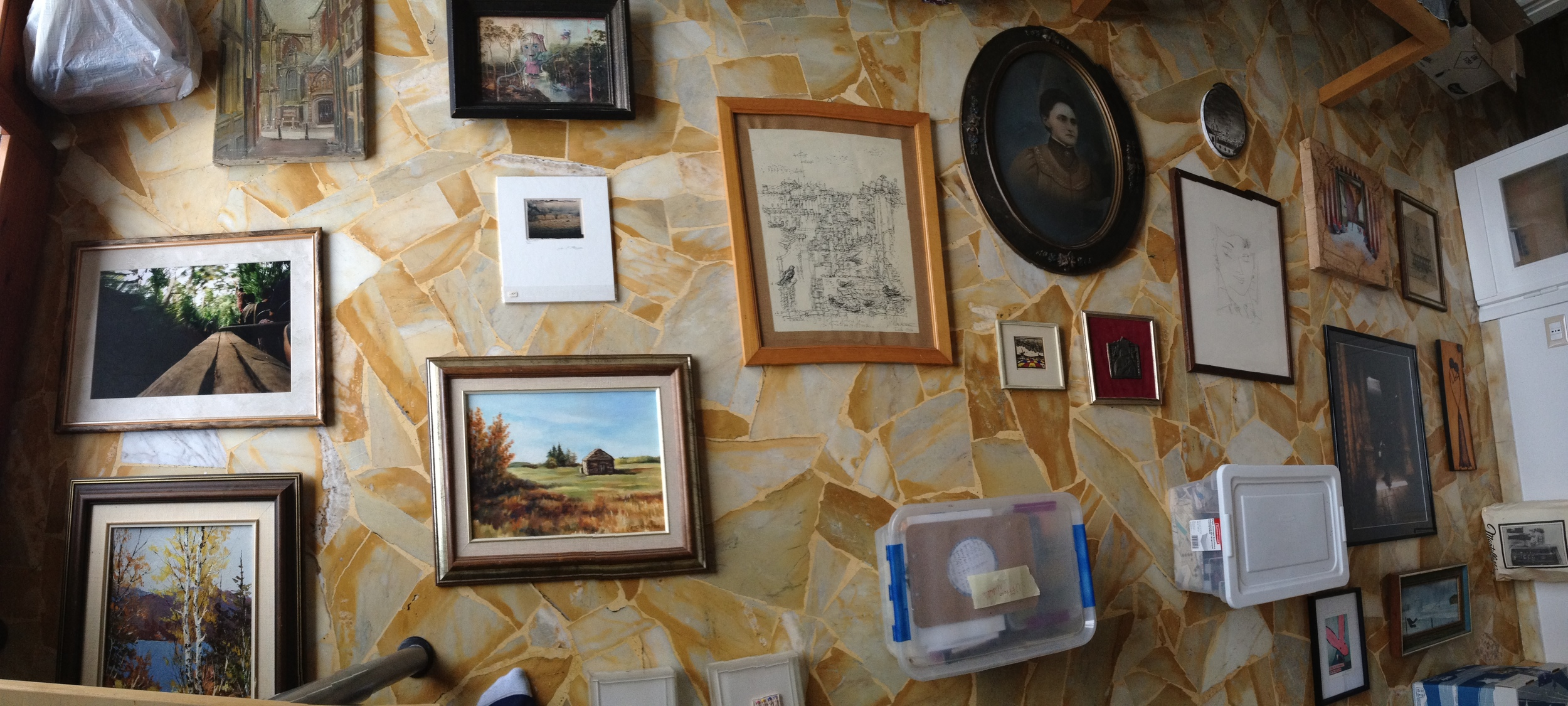 Planning out the picture wall.