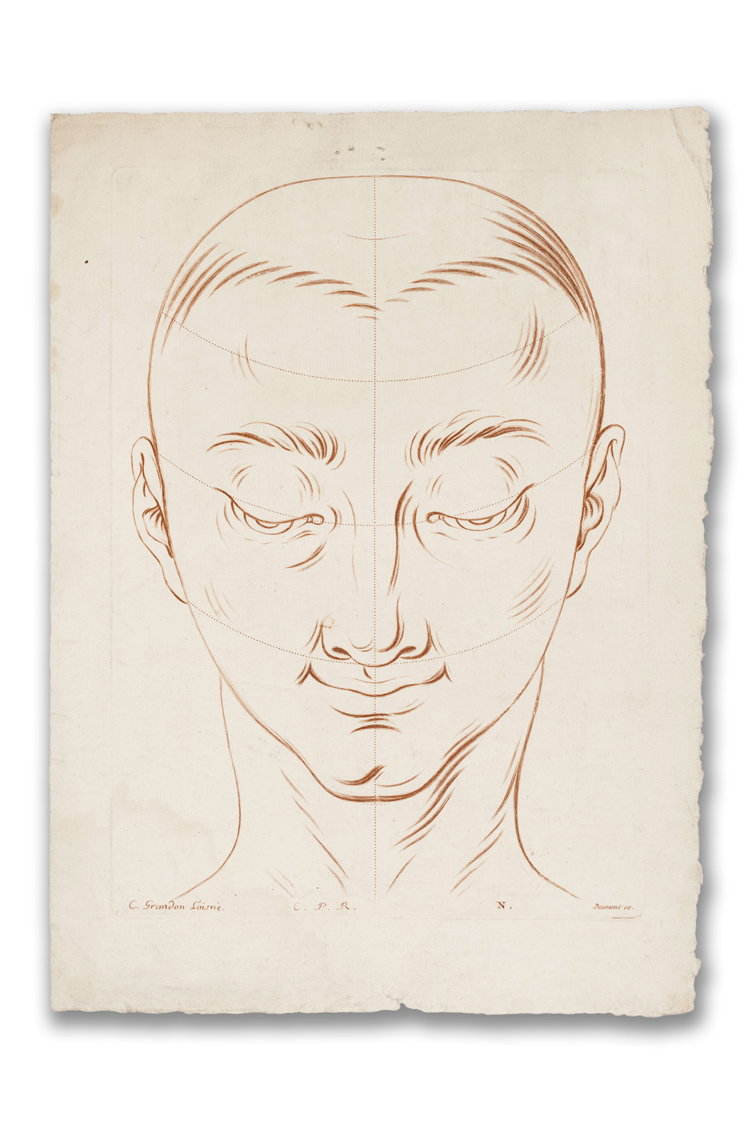 Charles Grandon, (French 1691?-1762), Head of Man with Lines of Construction, 1740.