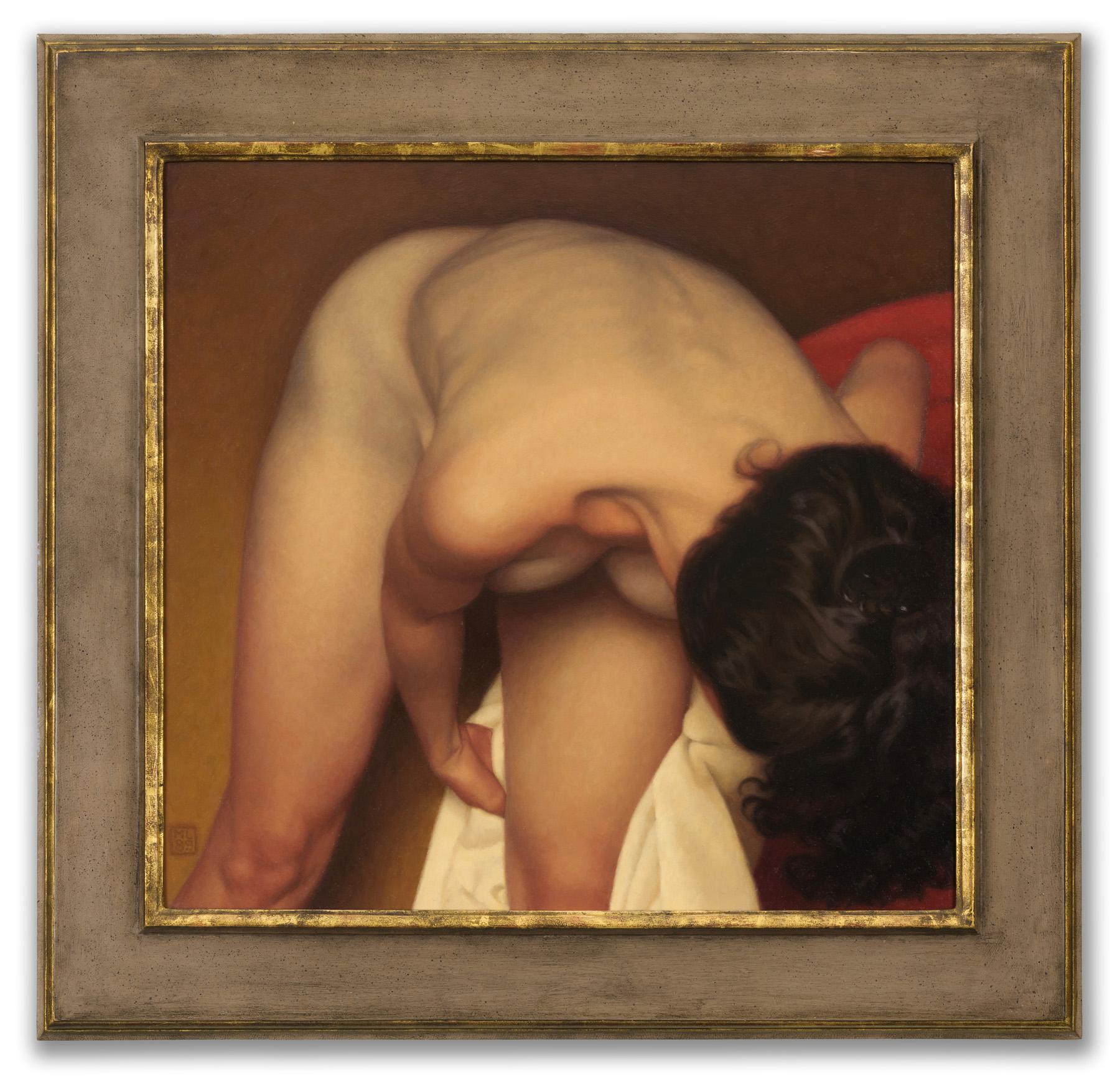 Michael Leonard, (British b.1933), Female Bather on Gold II, 1989.