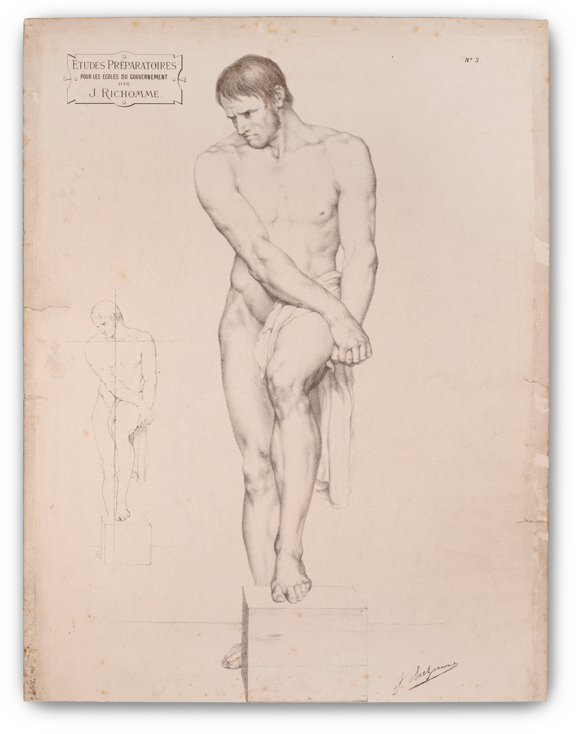 Jules Richomme, (French 1818-1903), Male Figure Study.