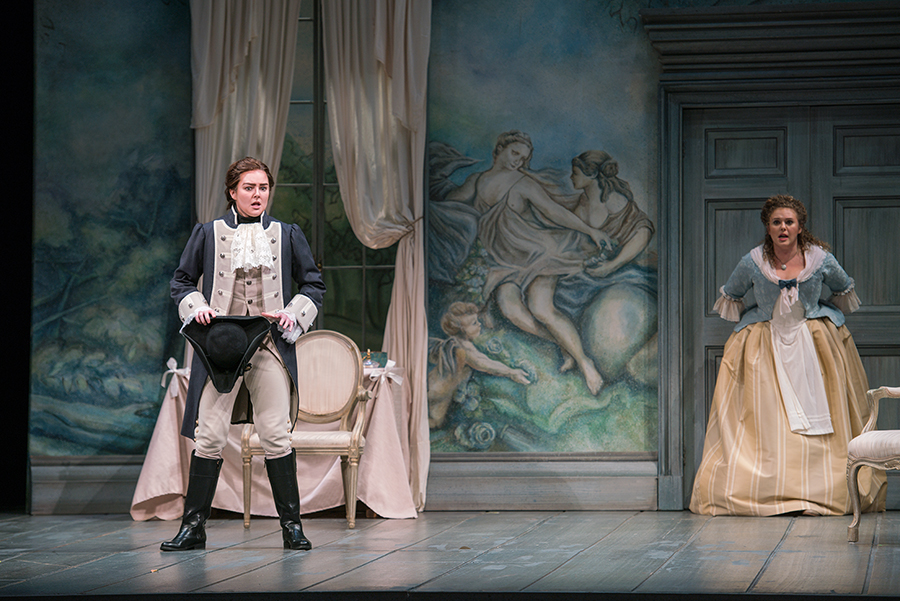 """The Marriage of Figaro - Michigan Opera Theatre 2017""""Sarah Coit's burnished mezzo-soprano gave her Cherubino a seductive tinge. Her pure, lovely """"Voi che sapete"""" confirmed her bright future, made all the more likely by her undeniable aptitude for physical comedy.""""– Jennifer Goltz, Opera News"""