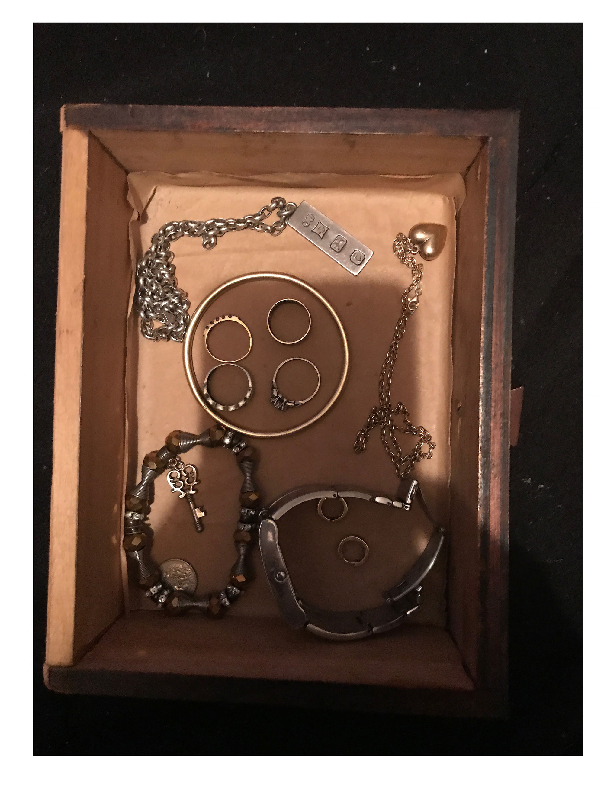 Mum's jewellery, at rest in the drawer her grandfather made, 2 September 2017