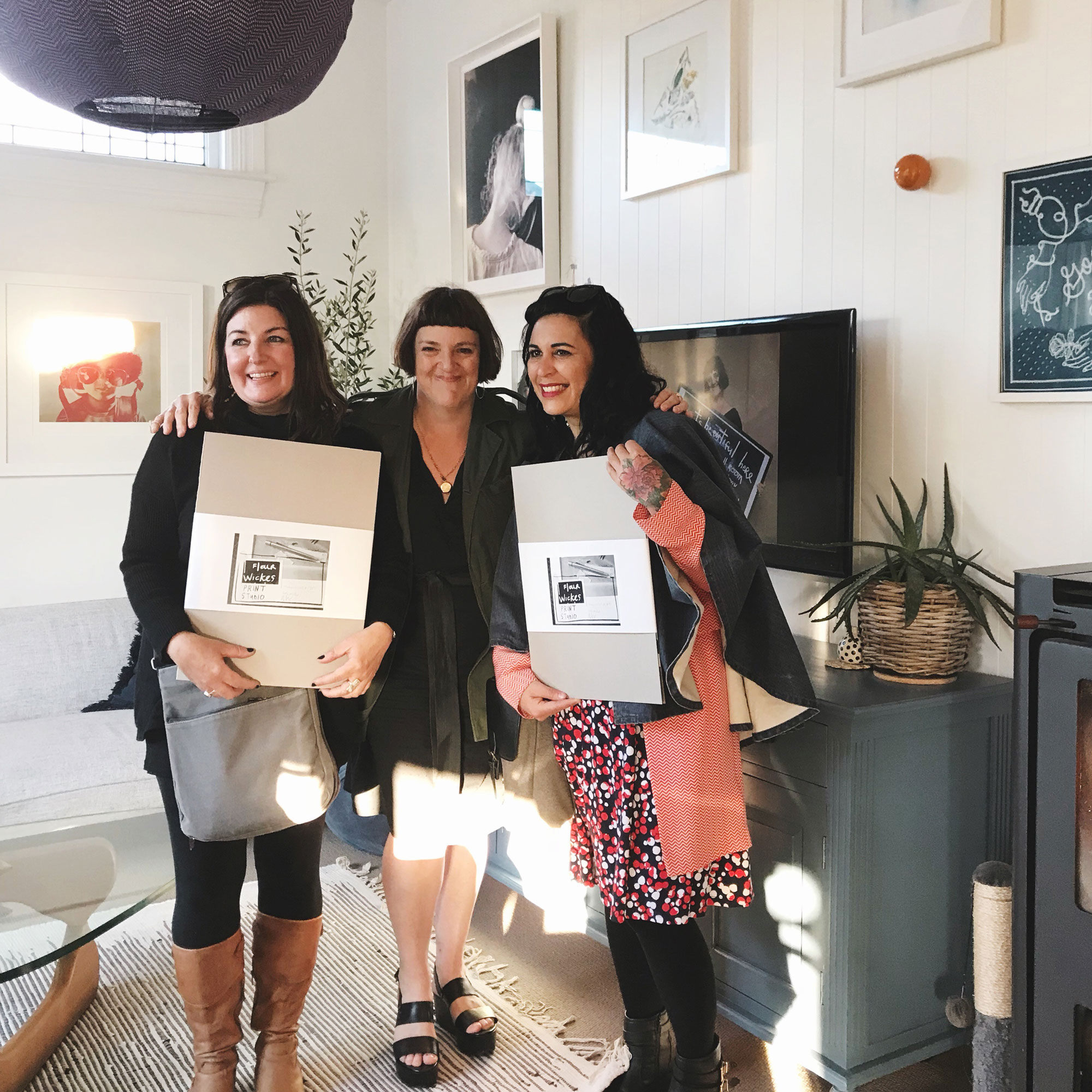 Two lovely women with me and their studioprints, Art House with Studio Home, Christchurch 2018  // Photograph: Julia Atkinson-Dunn