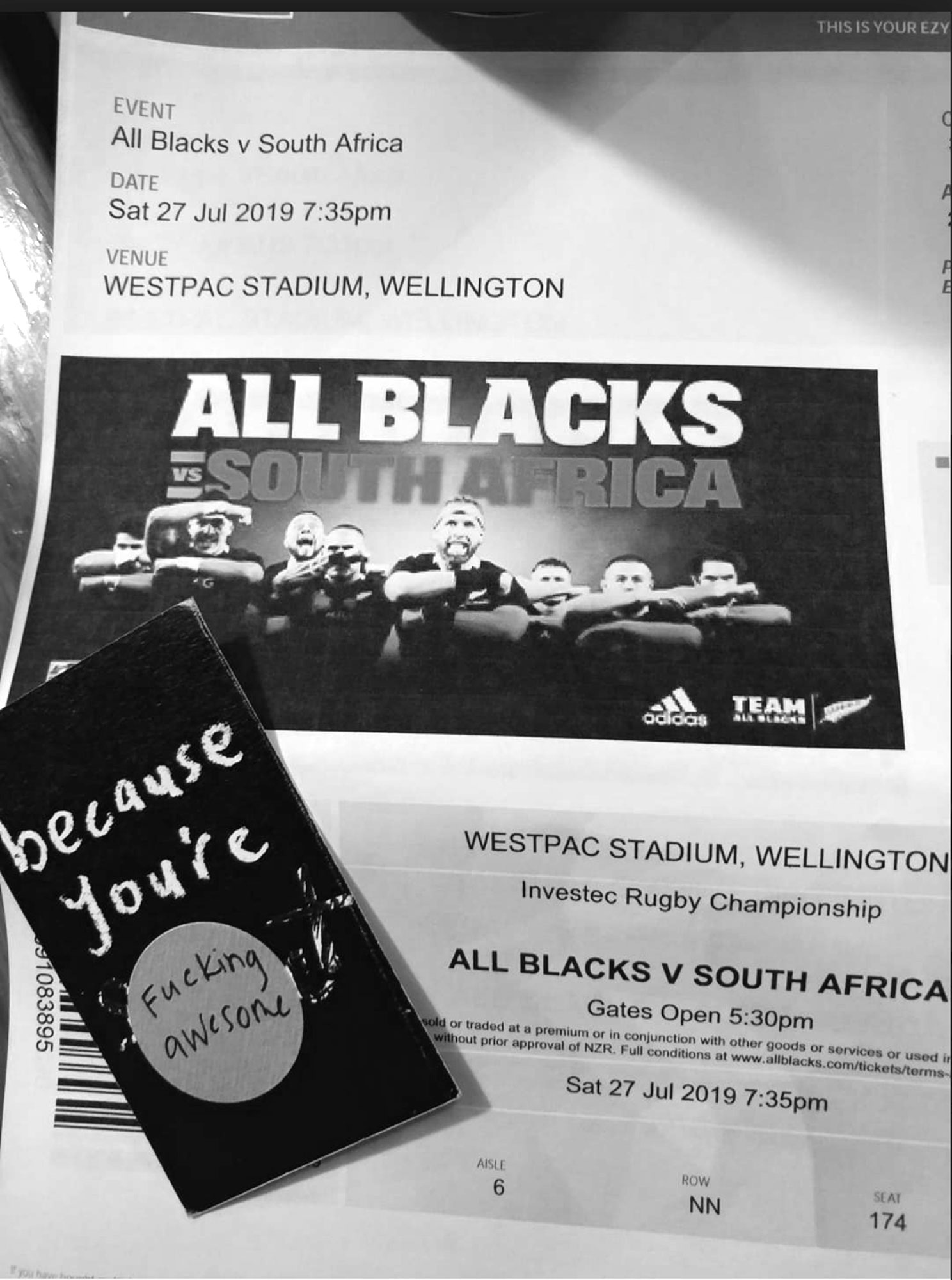 At the game , All Blacks VS South Afica, 27 July 2019 [Photograph: Geena Wickes]