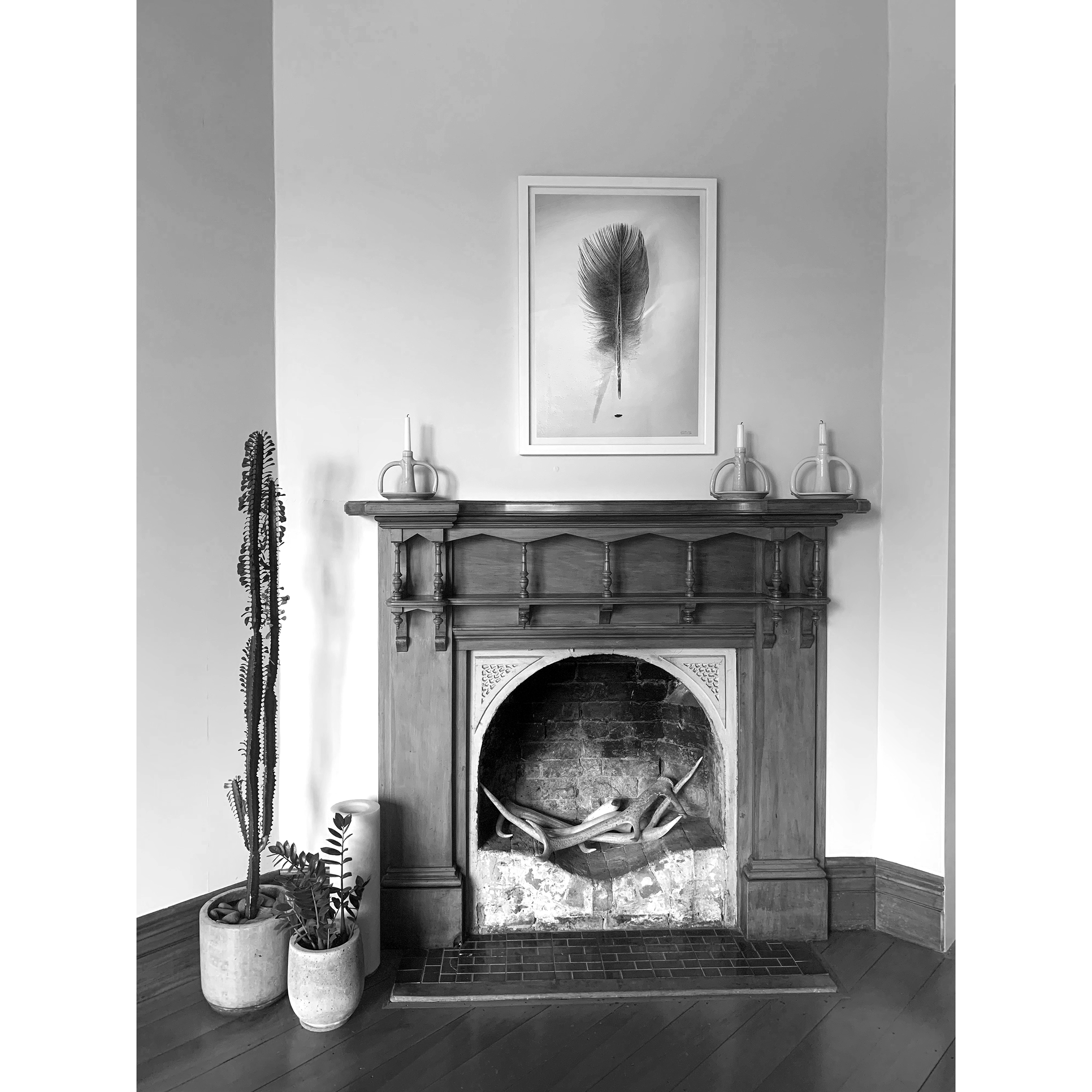 Feather, 2019  sitting gently above the mantle in the lounge.