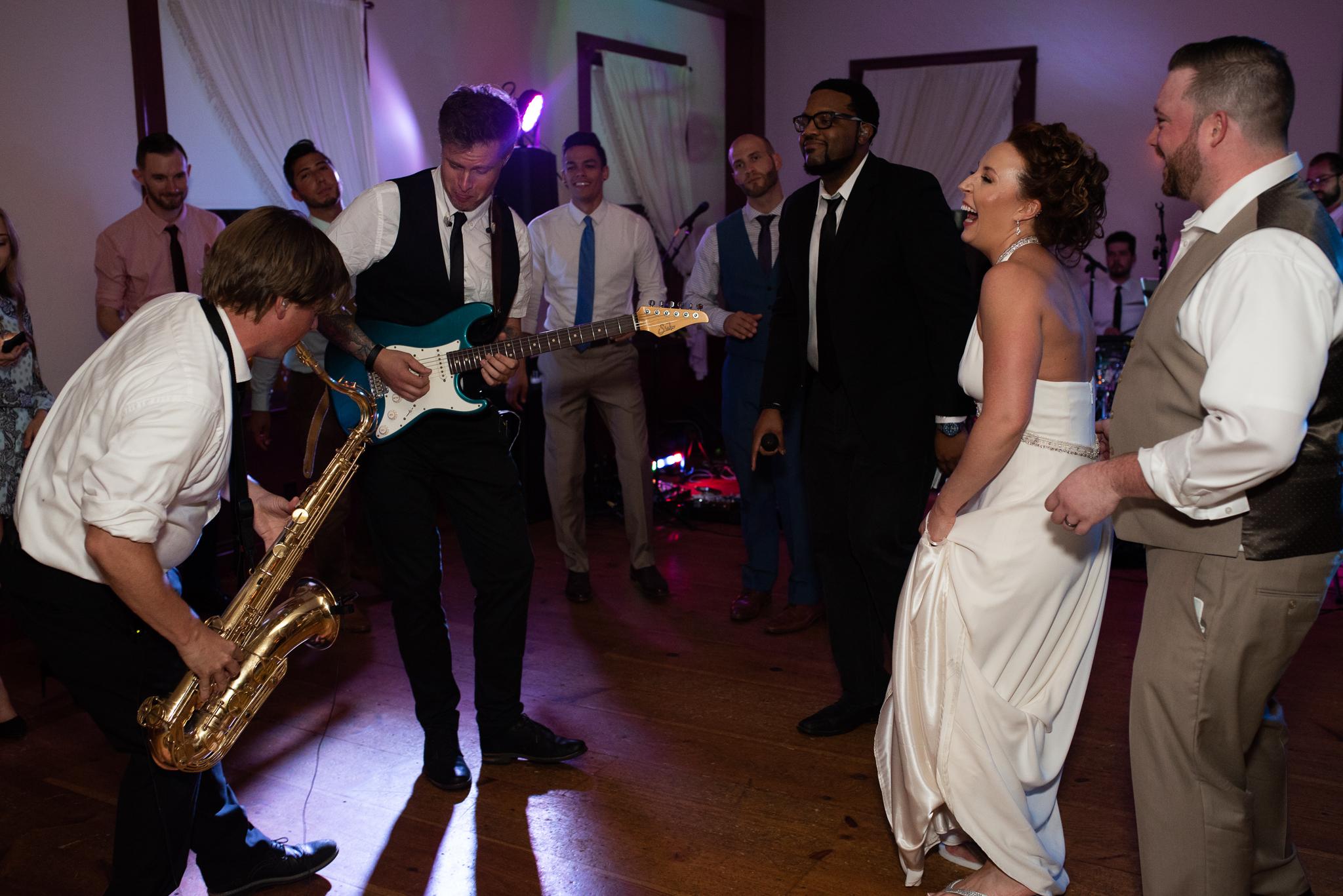 Honey Train performing at an Old Sturbridge Village wedding reception in Sturbridge, MA photographer Kara Emily Krantz Photography.