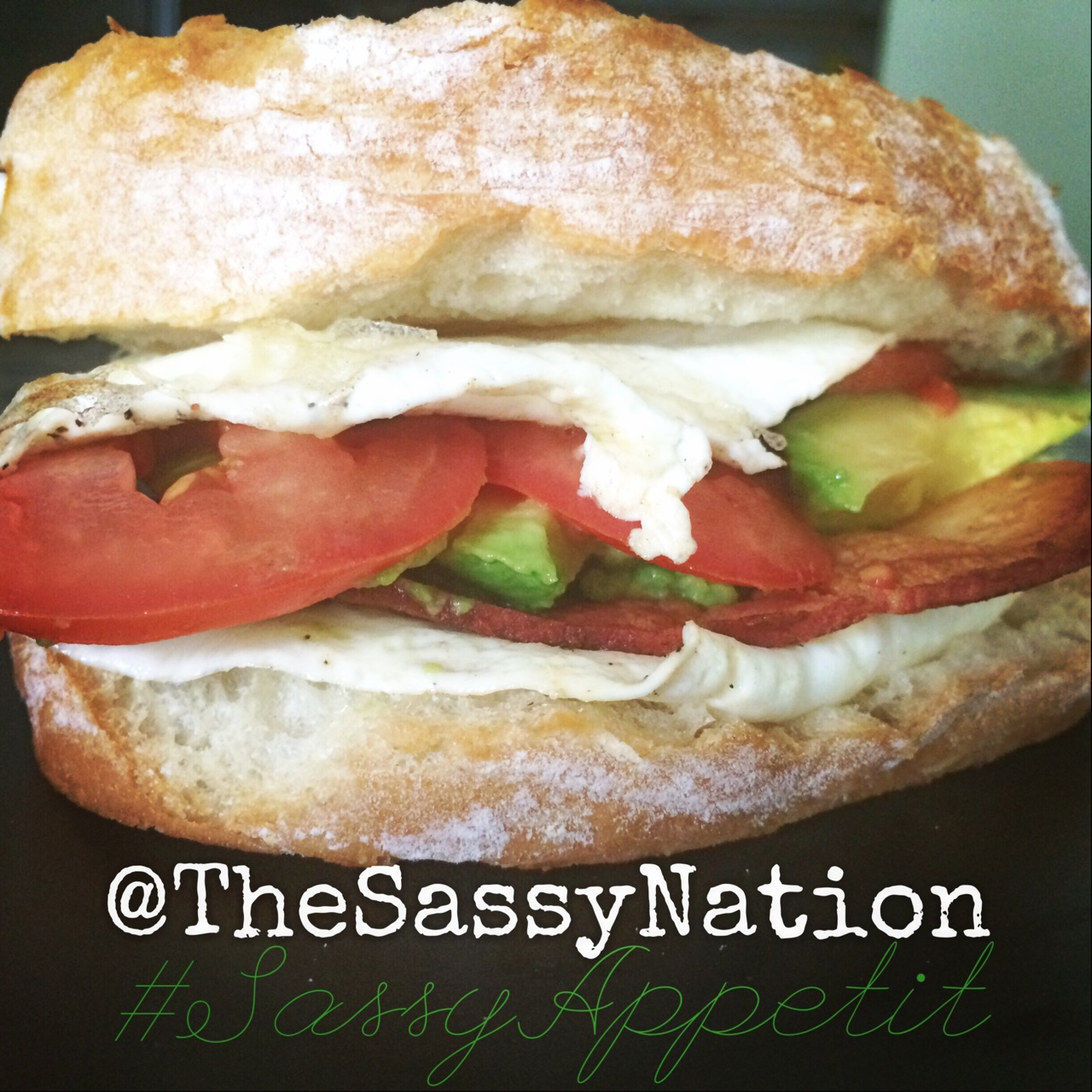 ::: Sassy Appétit :::    So… this happened this morning. 😋#Eggwhites with #spinach, Roma #tomato, #avocado & pepper jack #cheese on toasted #ciabatta bread   *and some veggie bacon for good measure. I call it 'California Dreamin.' 😍🌞   Contact us to schedule a #delivery to an #Atlanta neighborhood near you. SassyNation@gmail.com 404-939-0111. 🍳🚗💨