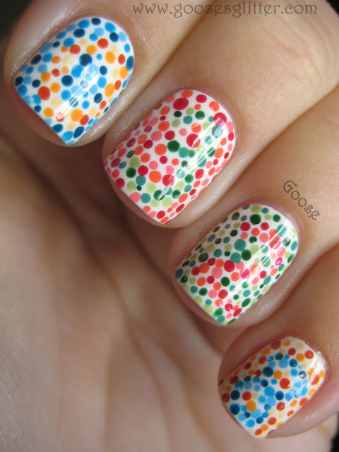 Bella Sassy Nails    You'd have to be colorblind to see that this design is too cute.   via  Goose's Glitter: Color Blind Test     Keep up with the daily fab, join Sassy Nation:     Tumblr      FB TheSassyNation     @SassyNation     Pinterest