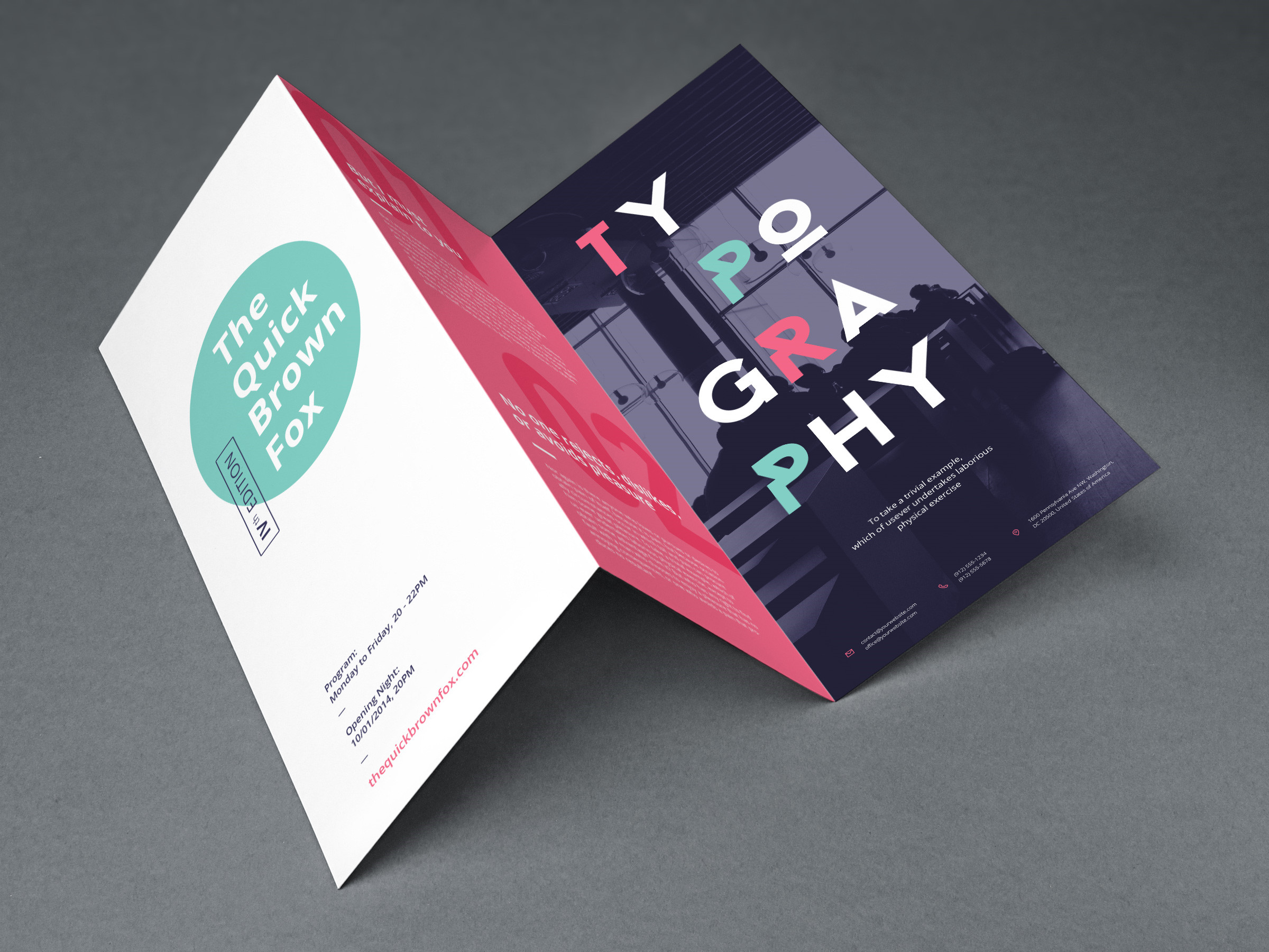 A partially unfolded Typography brochure