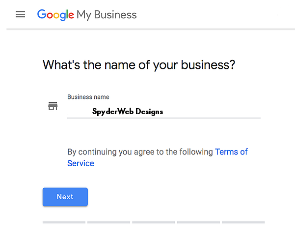 Step 1: Add Business Name